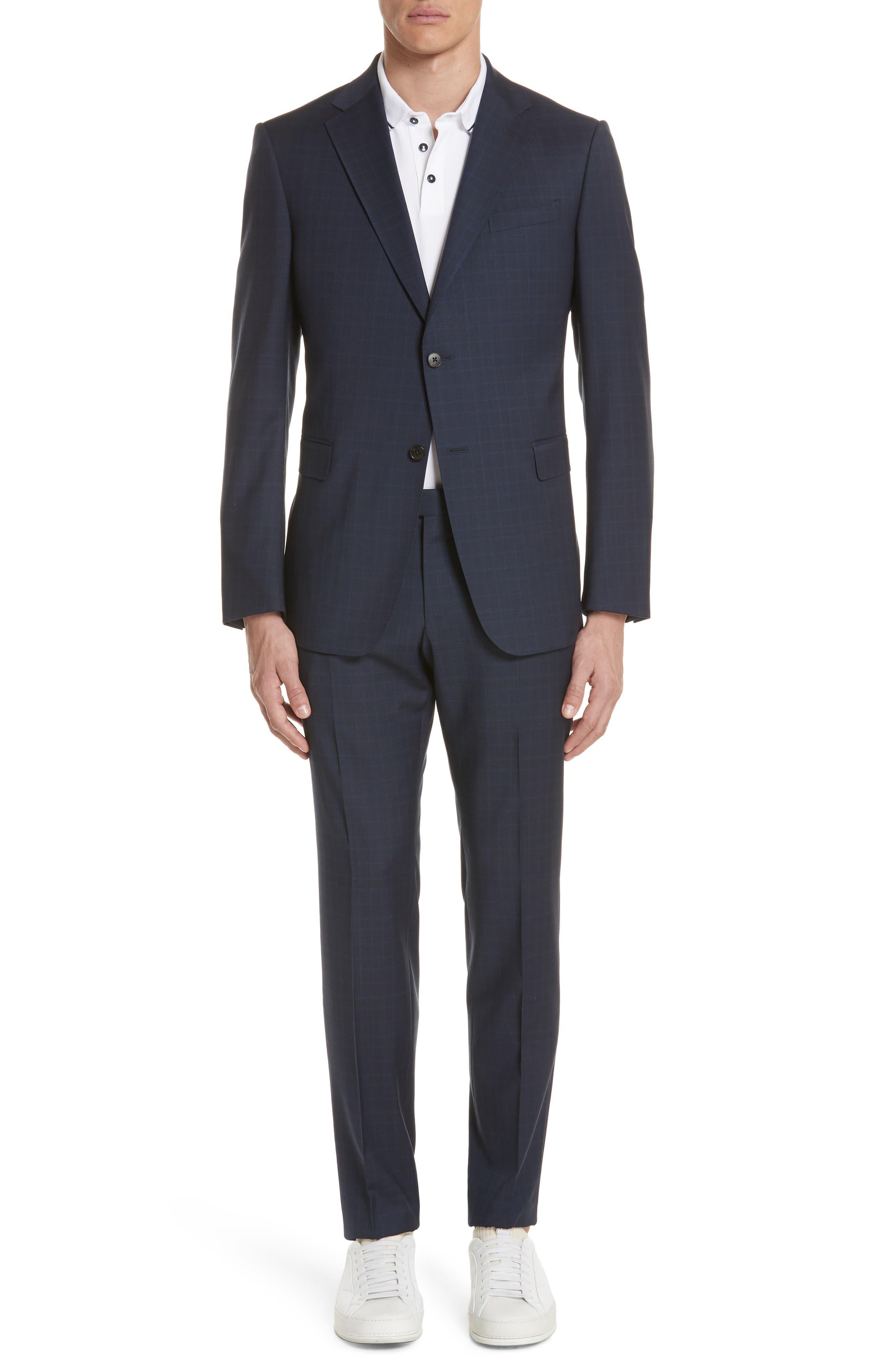 Trim Fit Plaid Wool Suit,                         Main,                         color, Navy Check