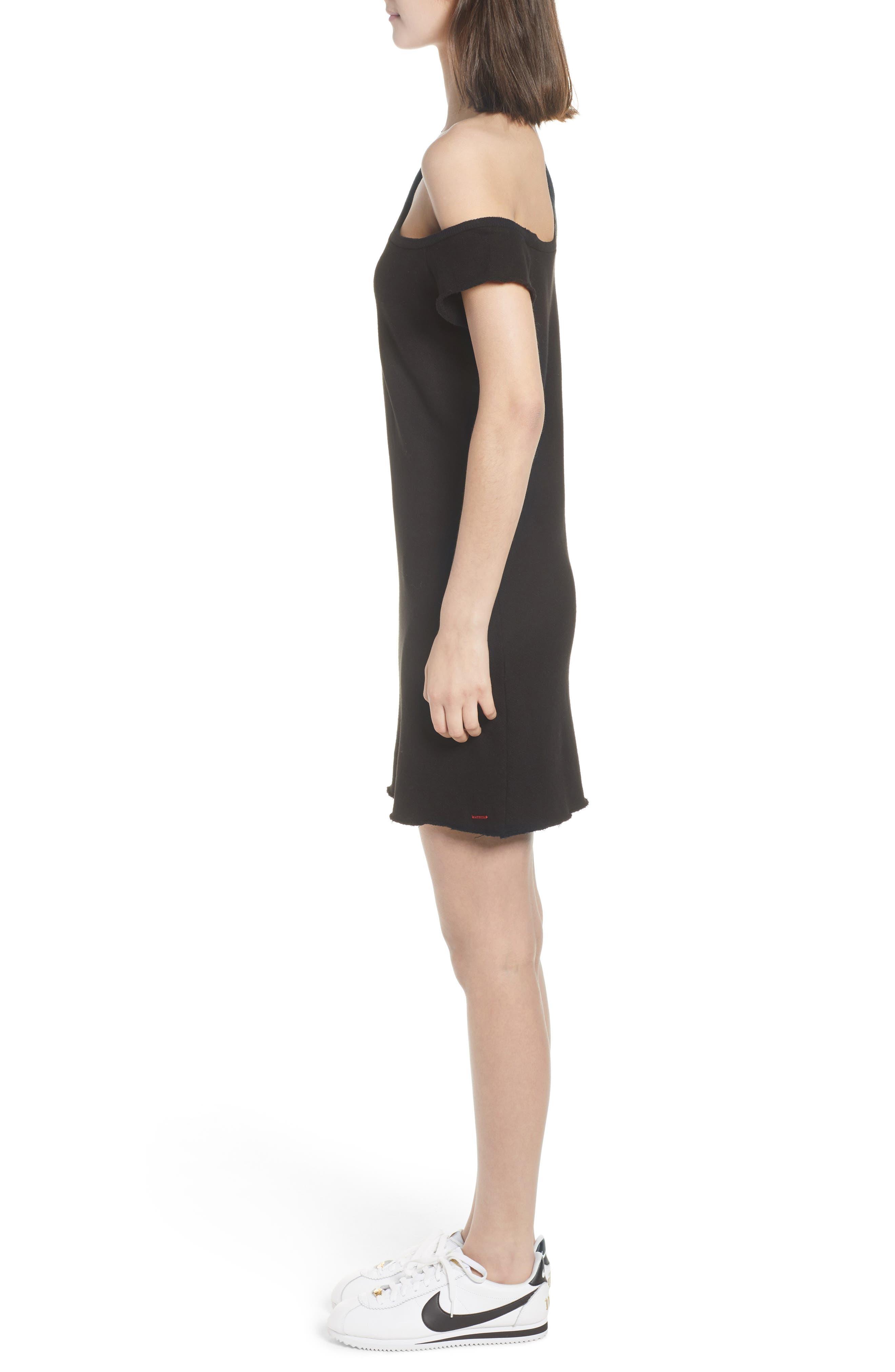 Camino One-Shoulder Dress,                             Alternate thumbnail 3, color,                             Black Cat