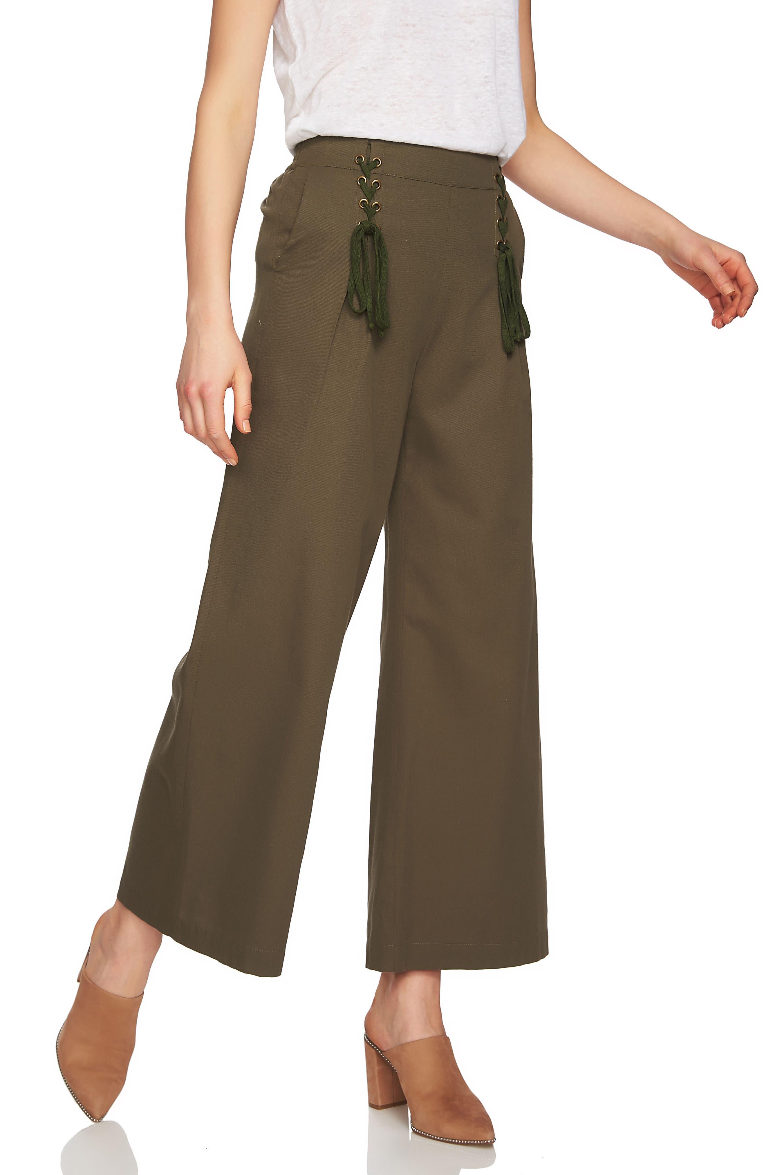 Lace-Up Detail Wide Leg Pants,                             Alternate thumbnail 3, color,                             Olive Tree