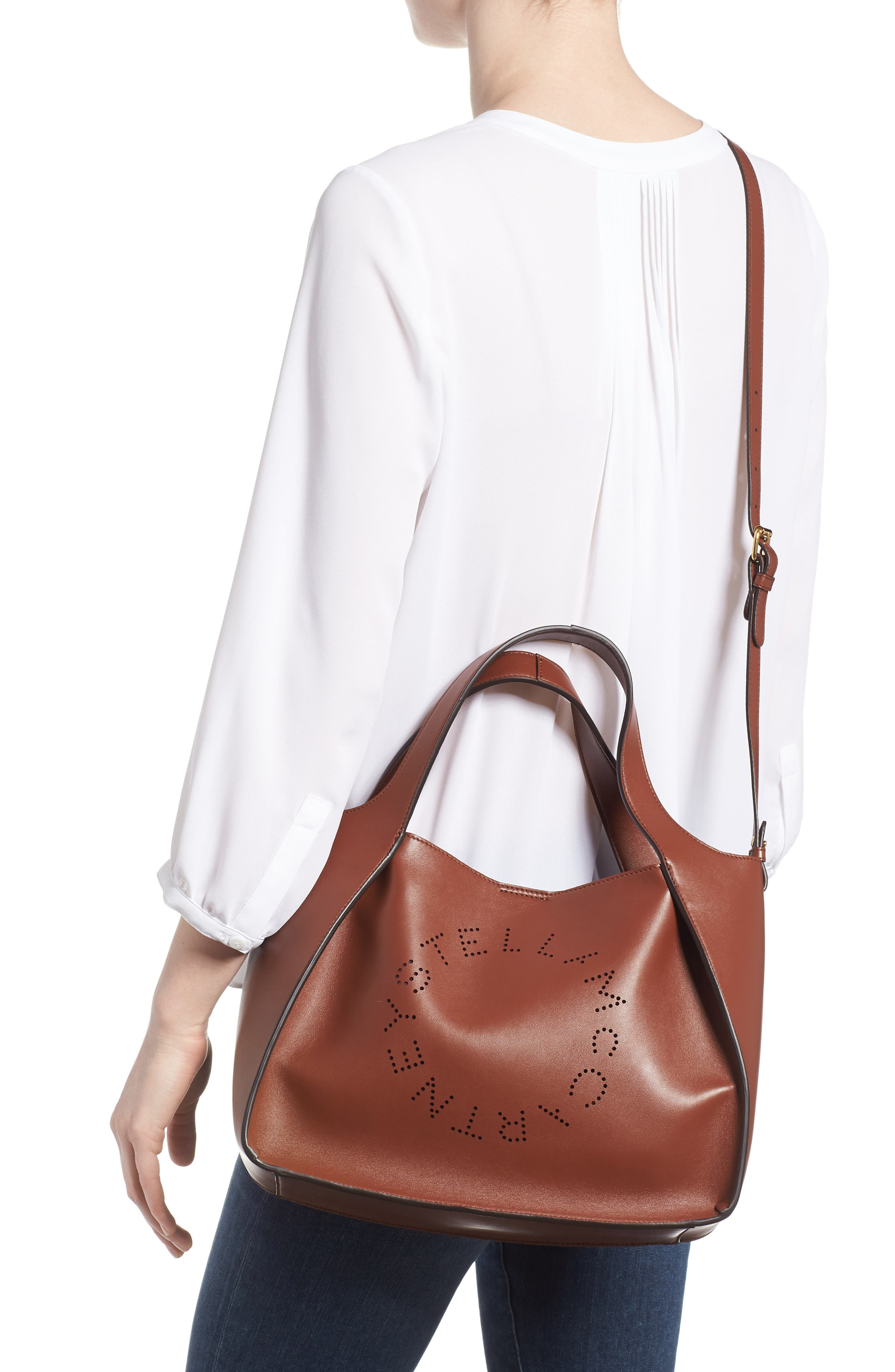 Perforated Logo Faux Leather Satchel,                             Alternate thumbnail 2, color,                             Pecan
