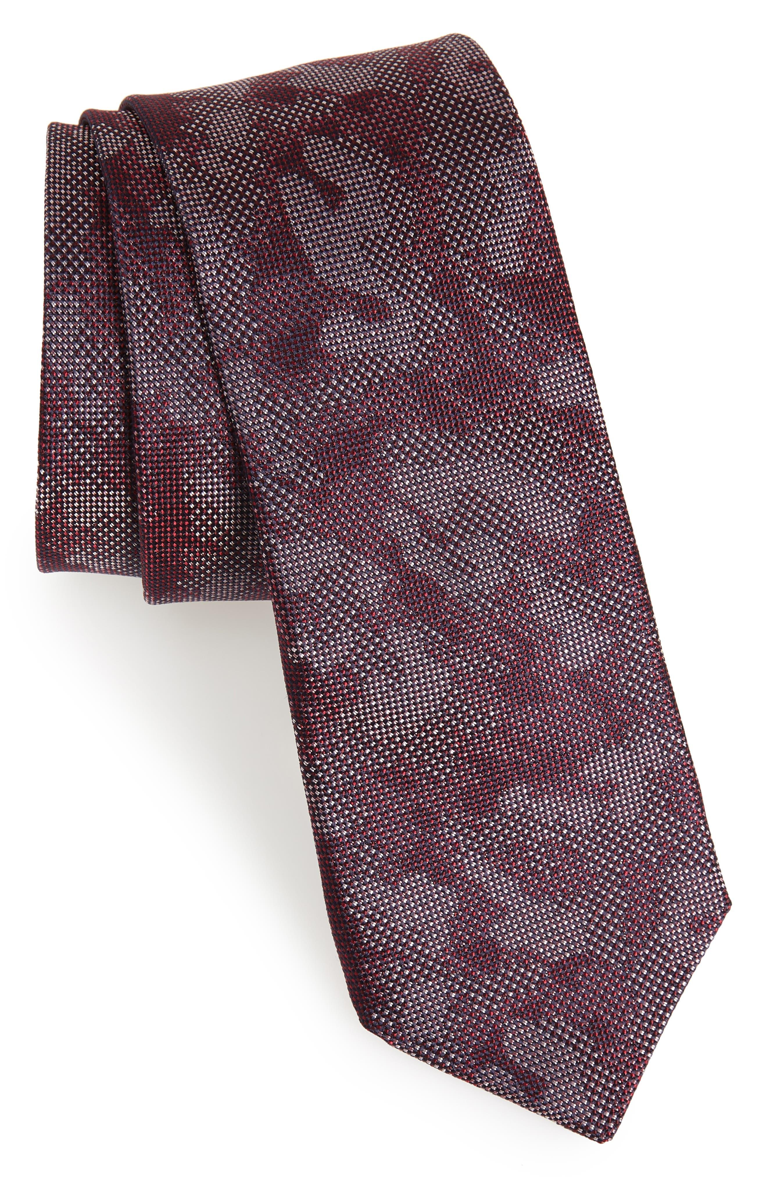 Camo Silk Tie,                         Main,                         color, Burgundy