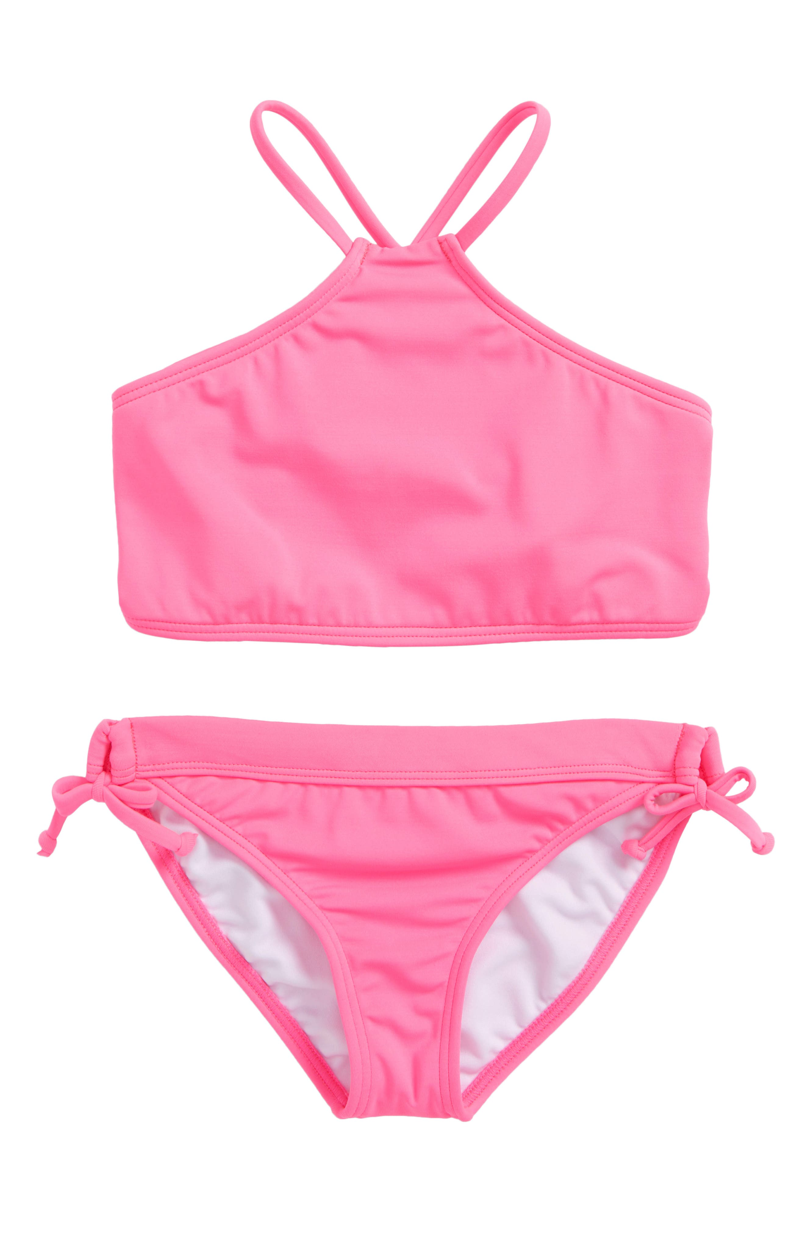 Sol Searcher High Neck Two-Piece Swimsuit,                         Main,                         color, Tahiti Pink