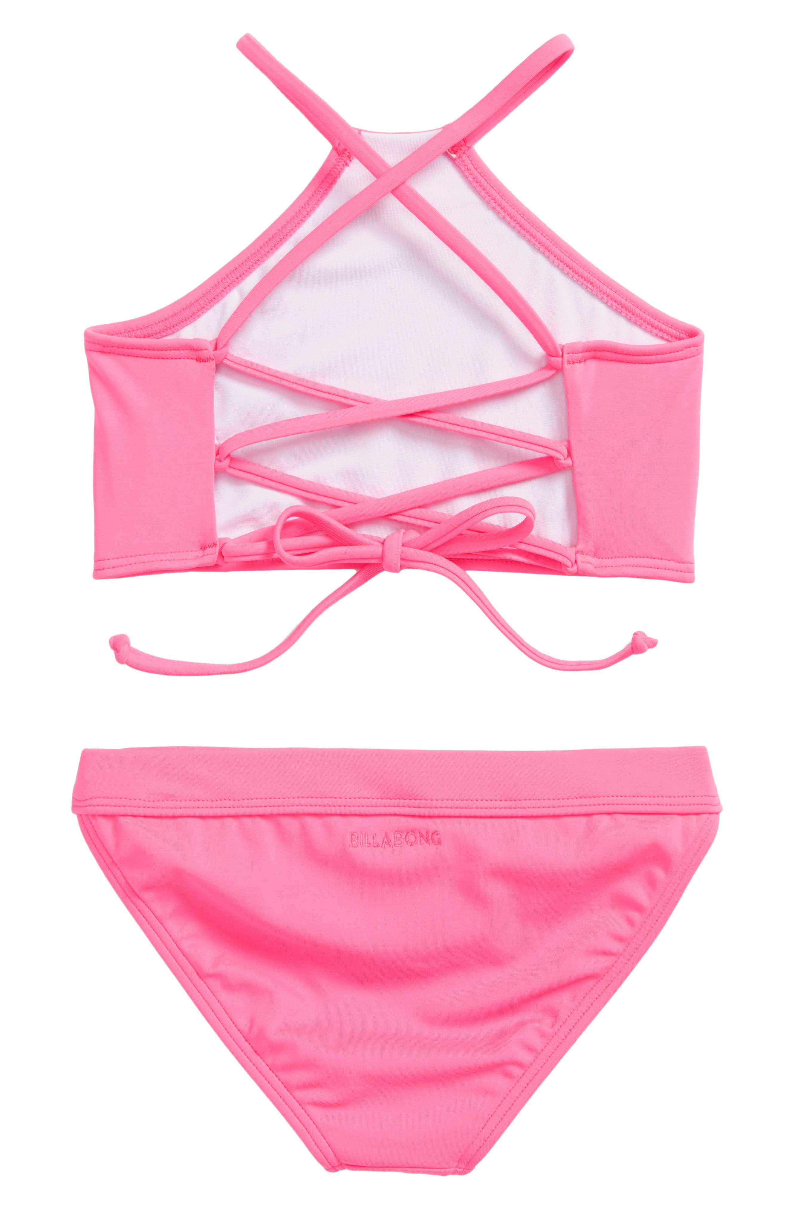 Sol Searcher High Neck Two-Piece Swimsuit,                             Alternate thumbnail 2, color,                             Tahiti Pink