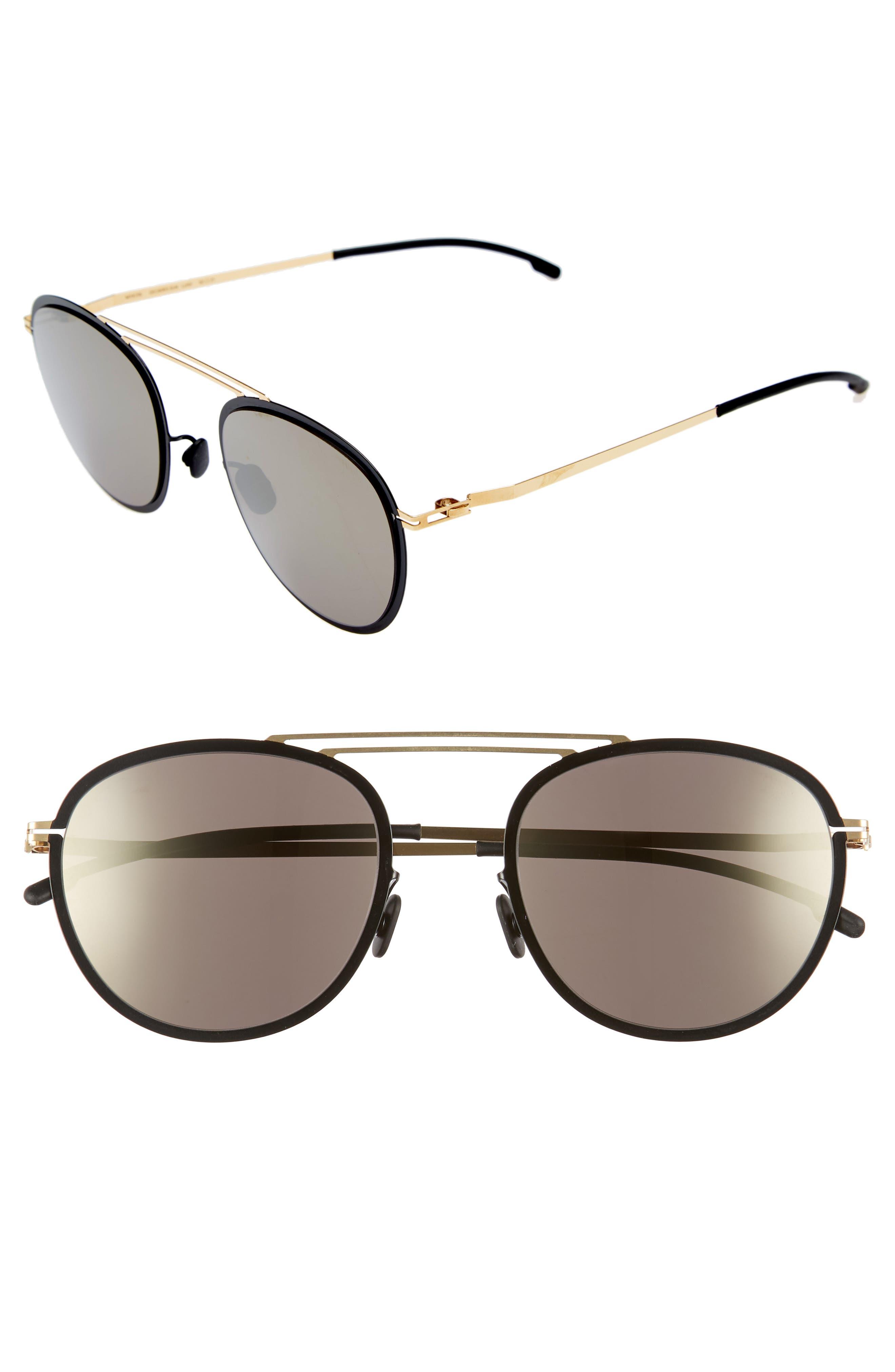 Luigi 52mm Aviator Sunglasses,                             Main thumbnail 1, color,                             Gold/ Jet Black