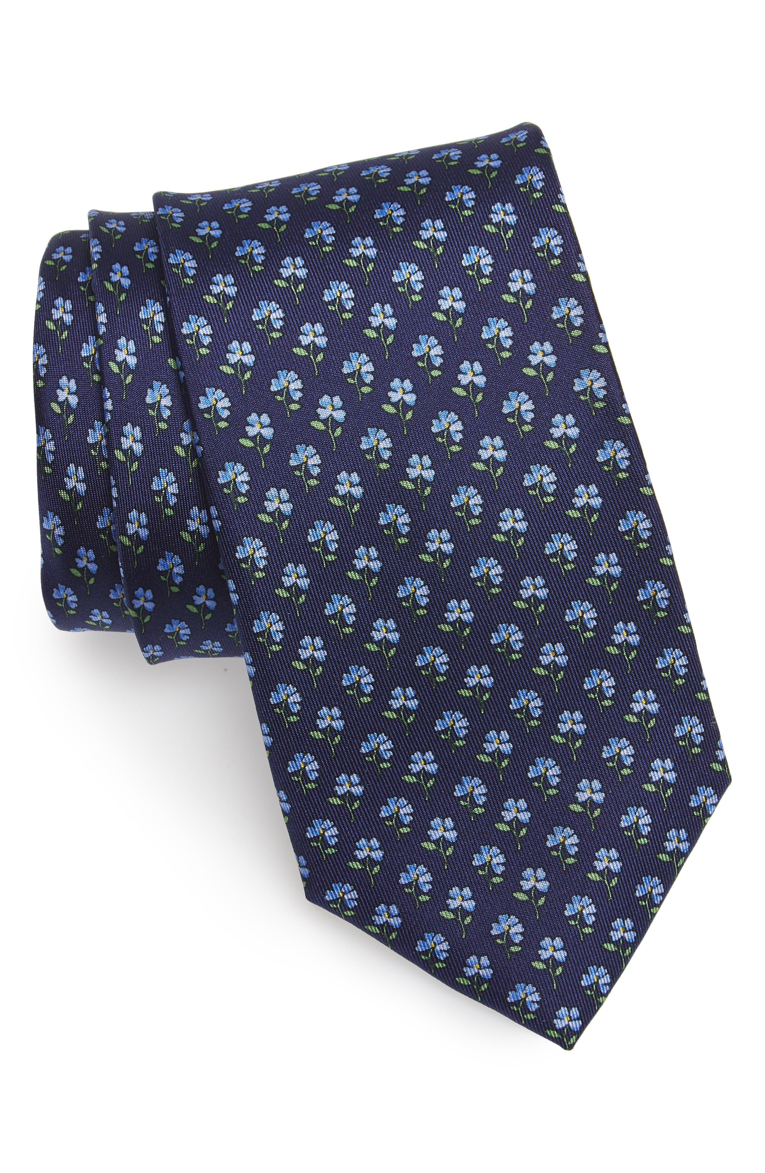 Floral Depths Print Silk Tie,                             Main thumbnail 1, color,                             Blue Depths