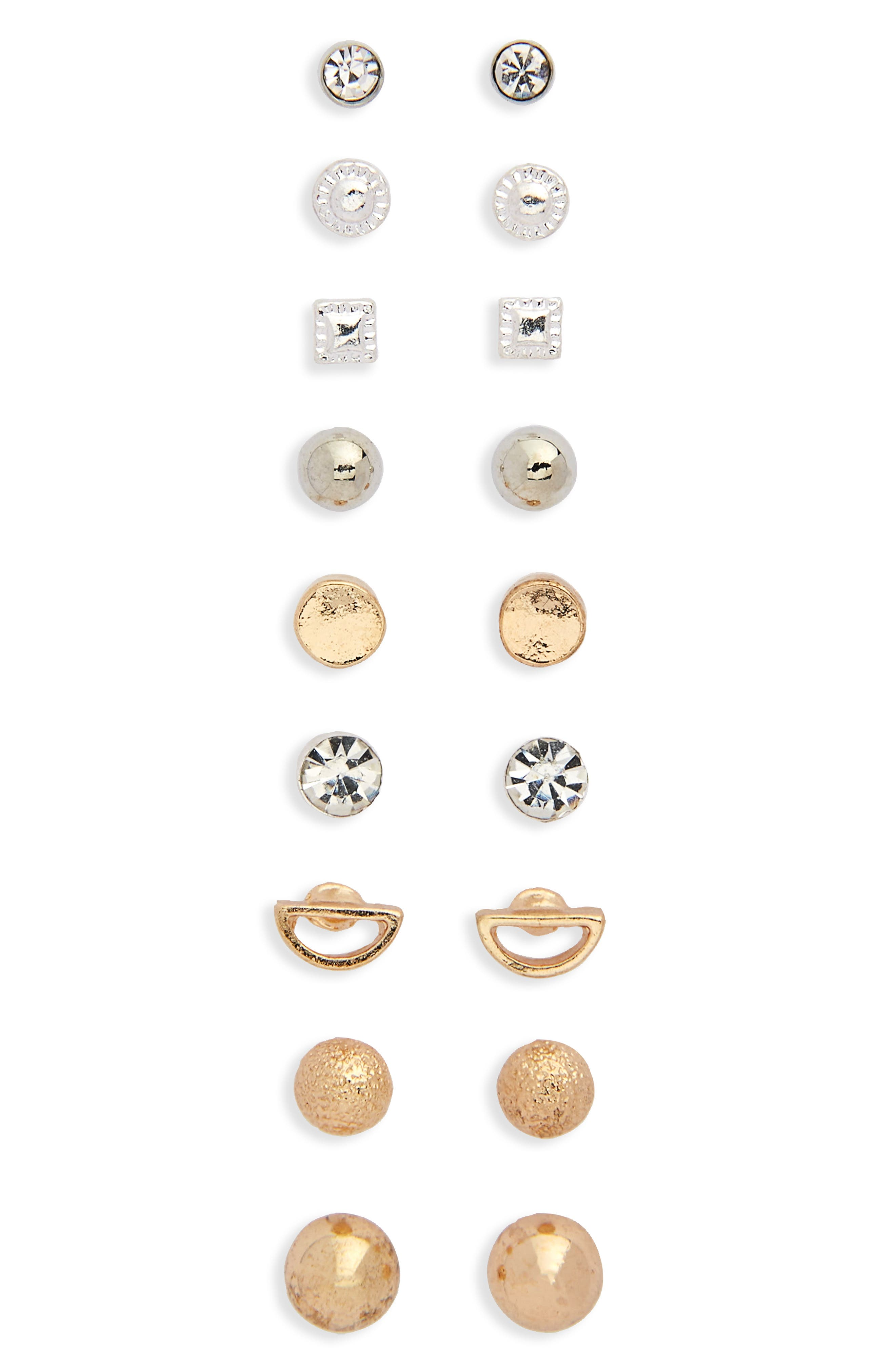 9-Pack Dainty Stud Earrings,                         Main,                         color, Gold/ Silver