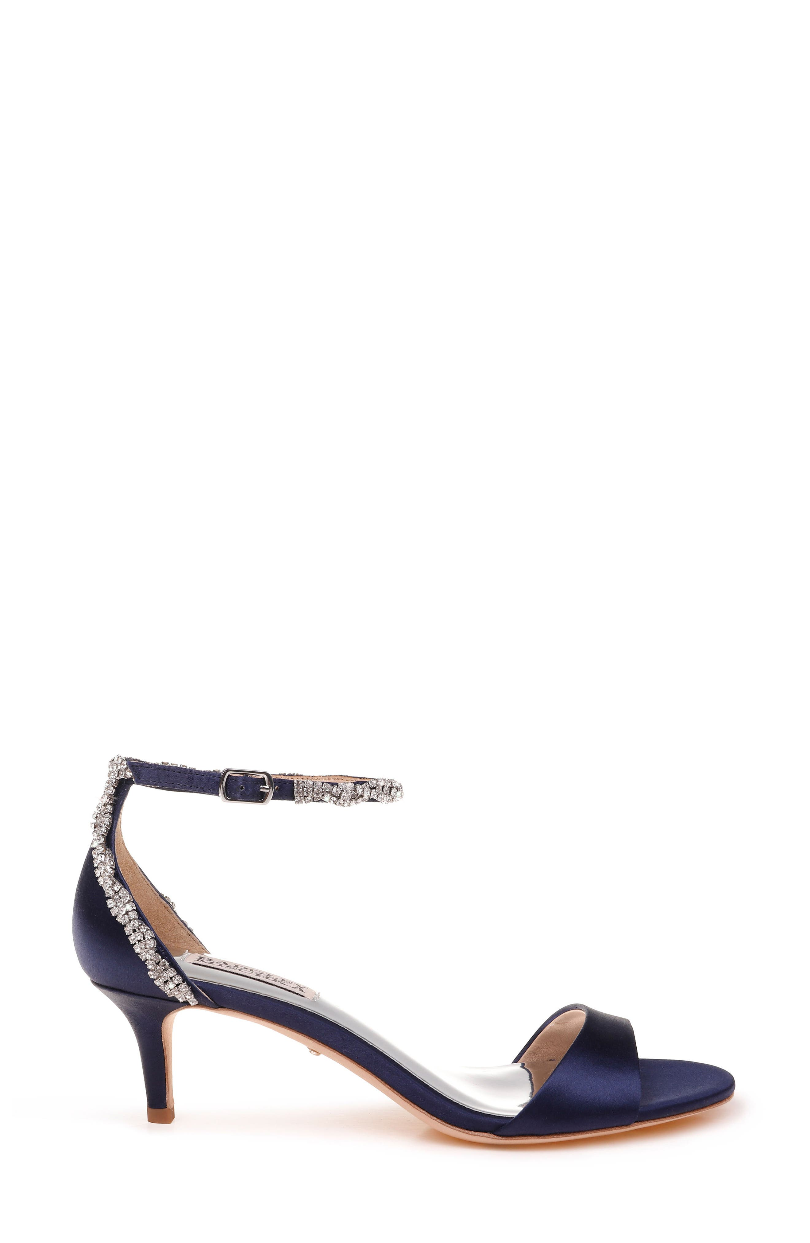 Yareli Crystal Embellished Sandal,                             Alternate thumbnail 3, color,                             Midnight Satin