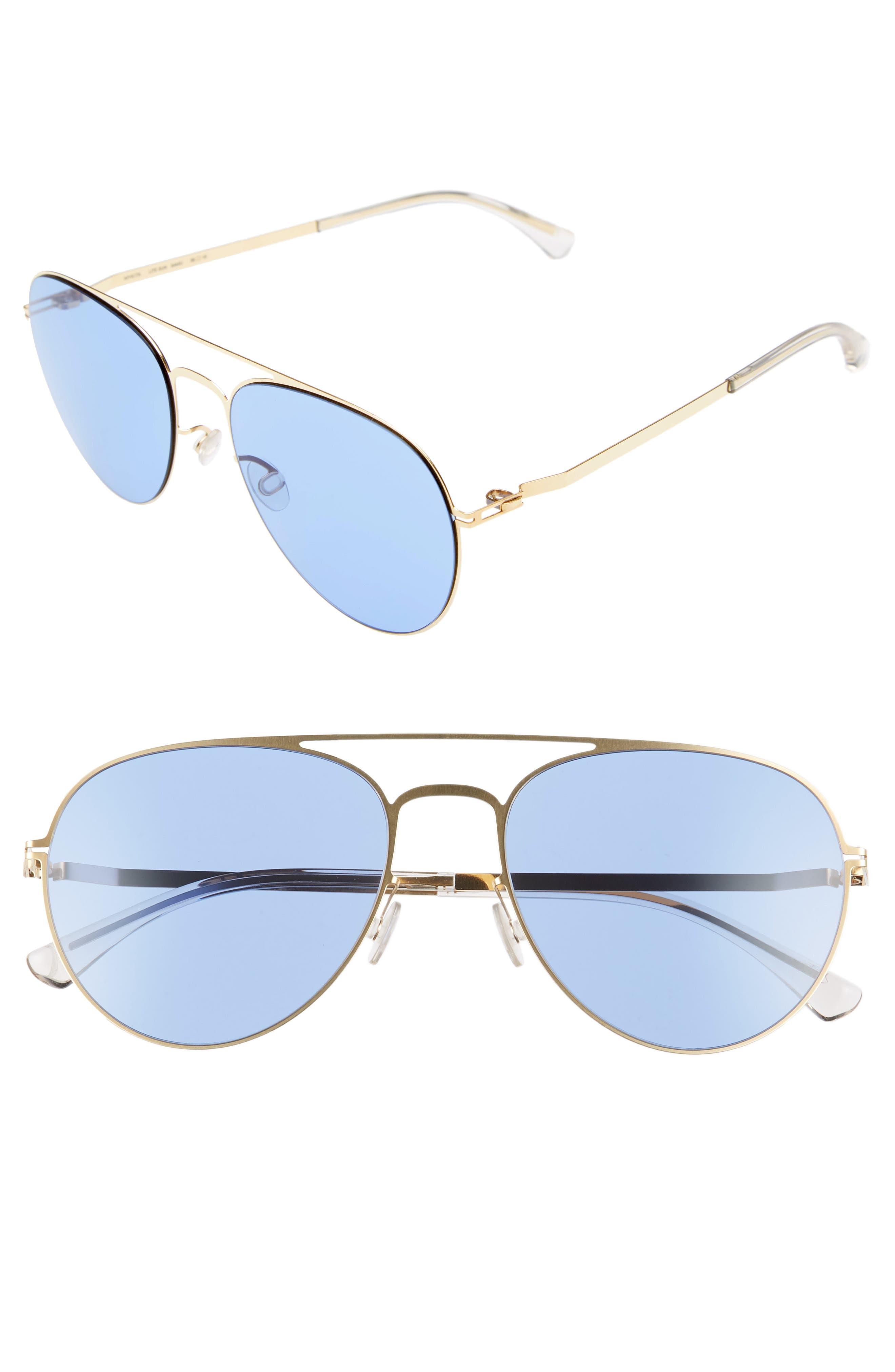 Samu 55mm Aviator Sunglasses,                             Main thumbnail 1, color,                             Glossy Gold