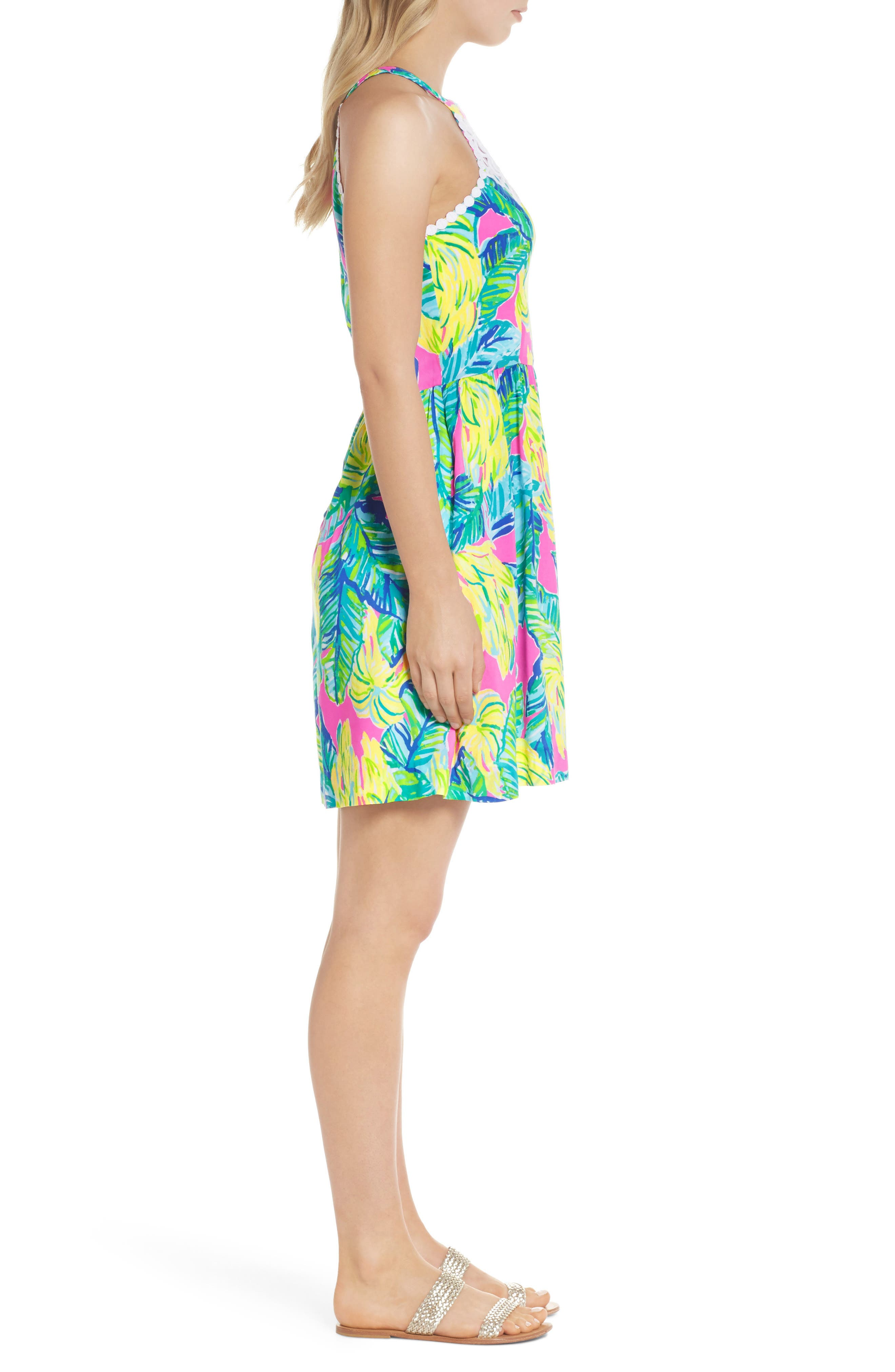 Kinley Halter Dress,                             Alternate thumbnail 3, color,                             Pink Sunset Local Flavor