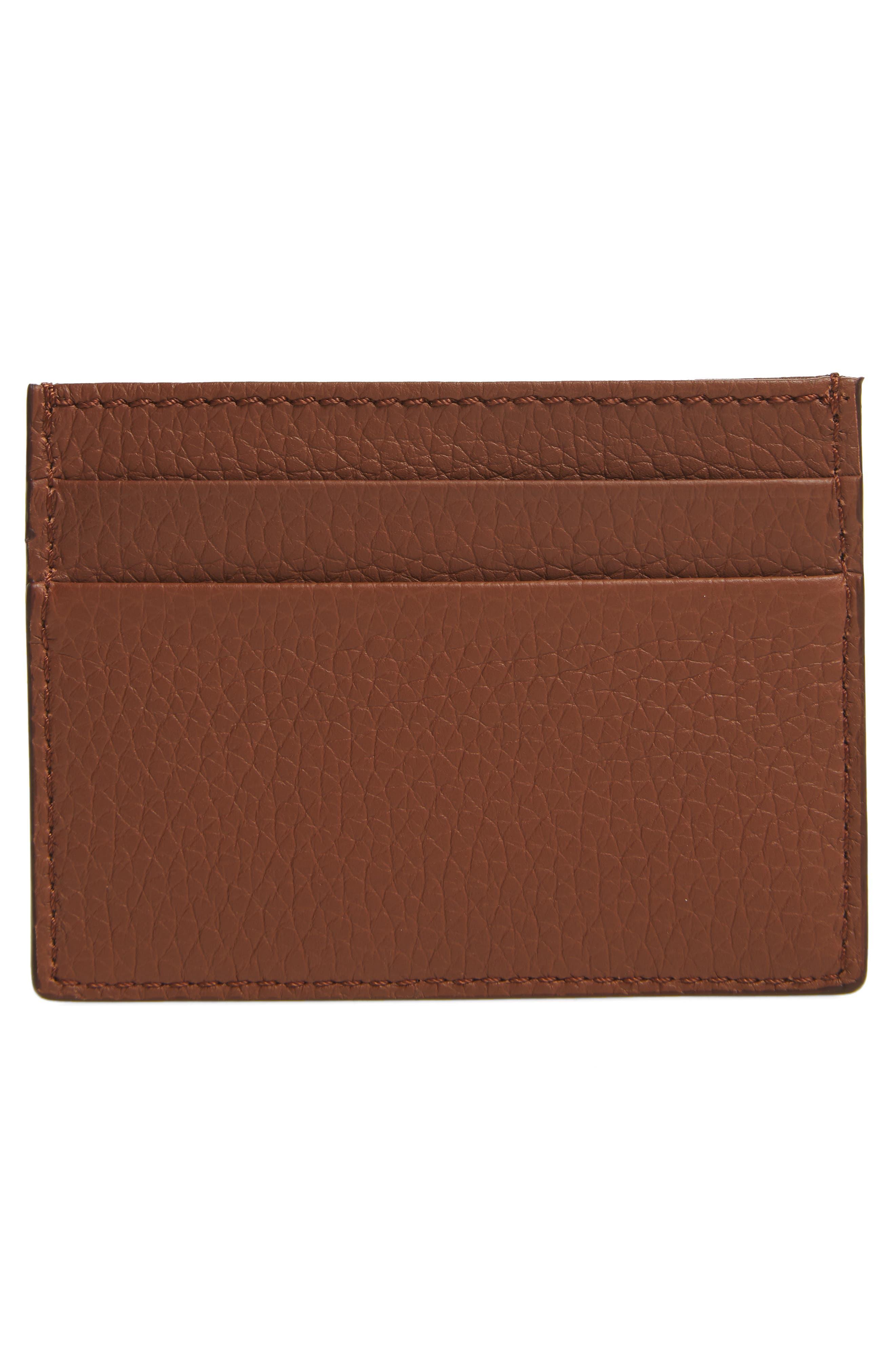 Sandon Leather Card Case,                             Alternate thumbnail 2, color,                             Chestnut Brown