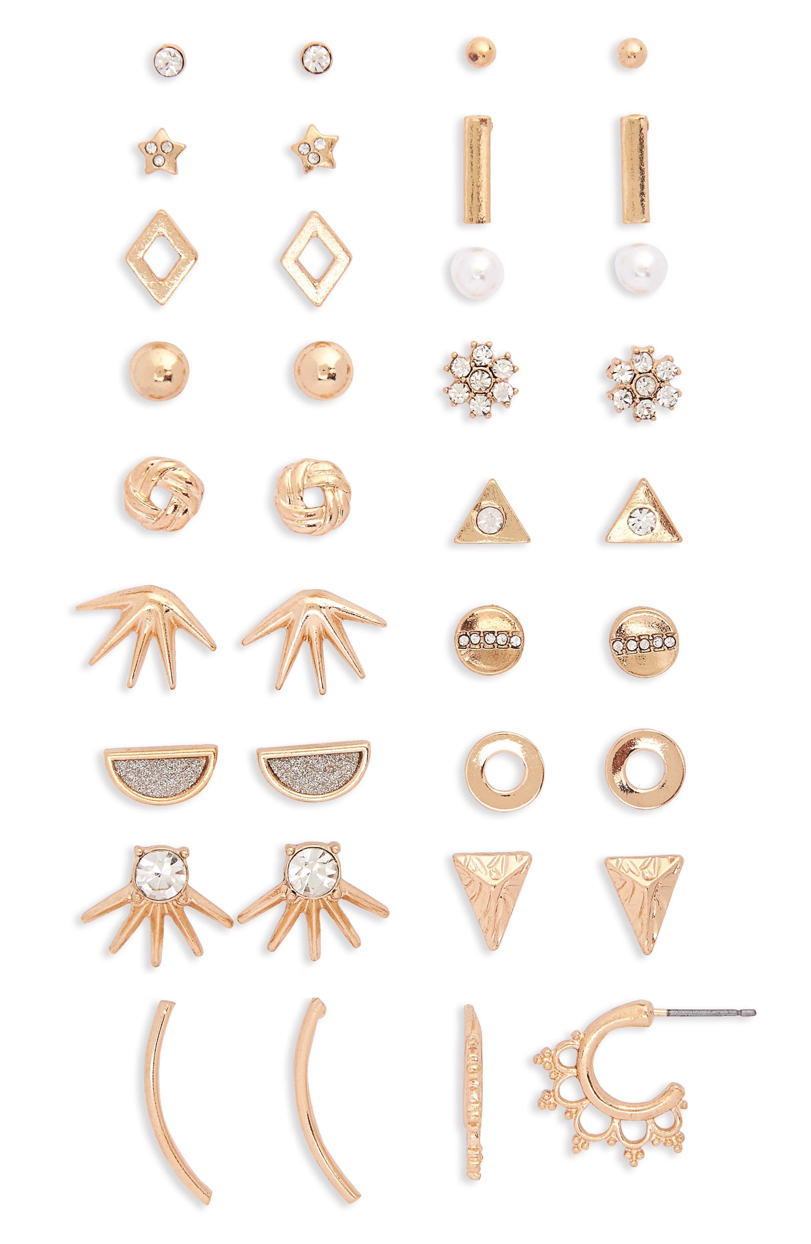 18-Pack Earrings,                             Main thumbnail 1, color,                             Gold
