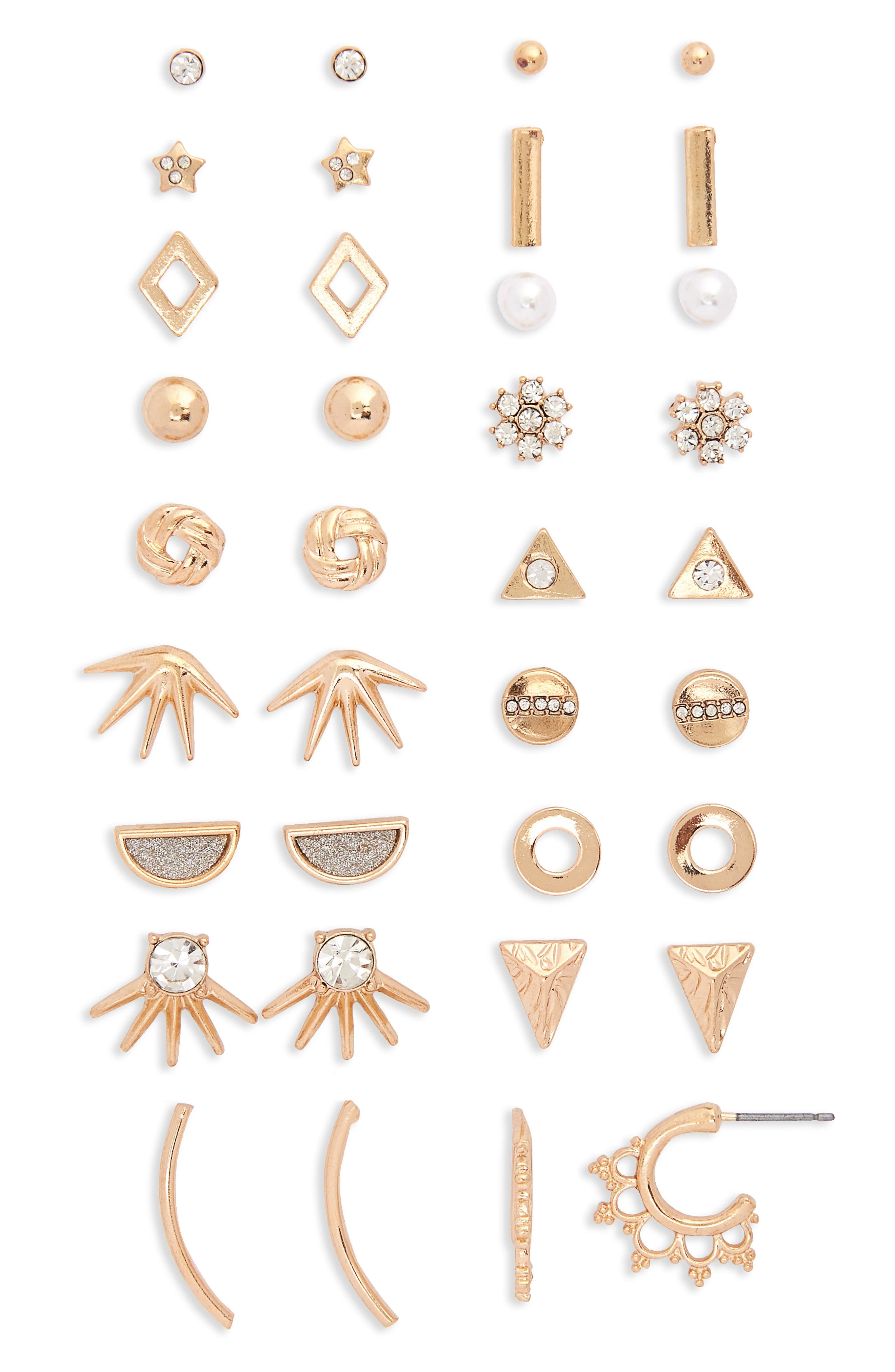18-Pack Earrings,                         Main,                         color, Gold