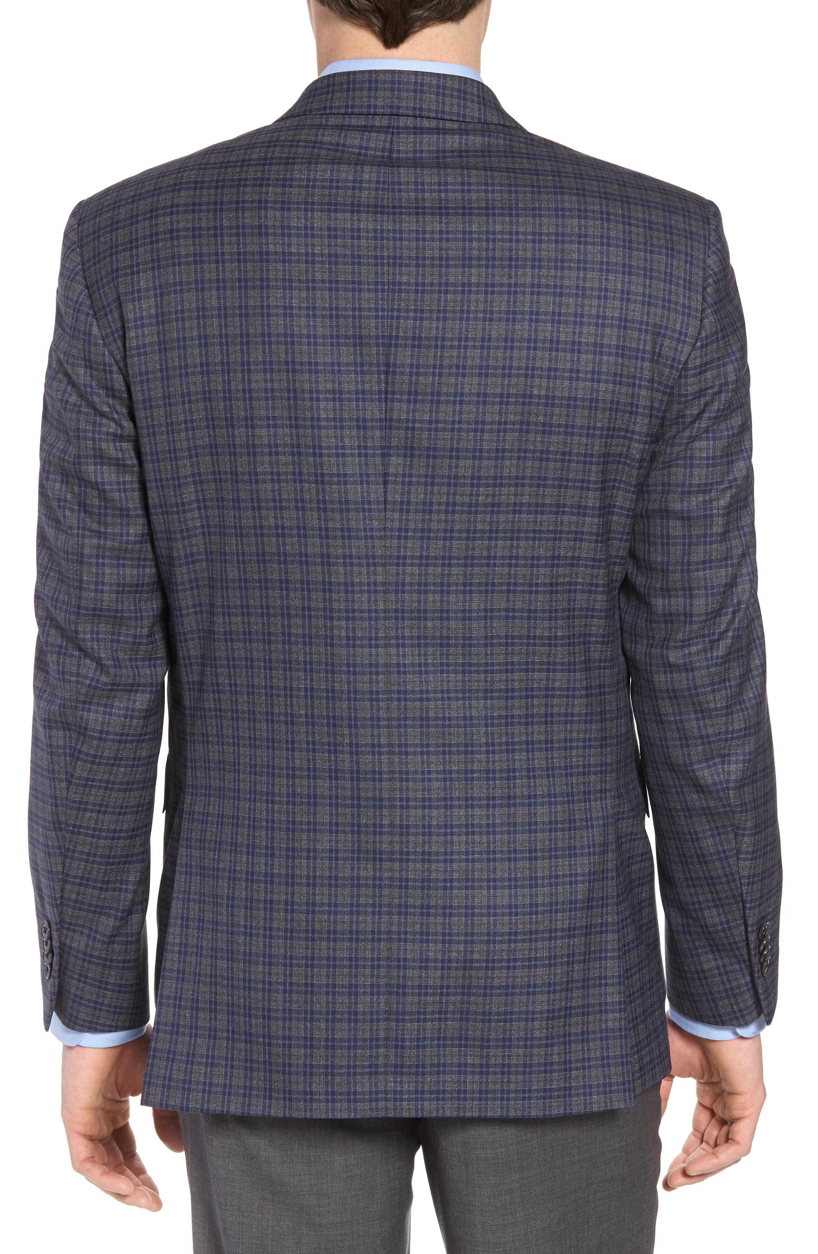 Classic Fit Check Wool Sport Coat,                             Alternate thumbnail 2, color,                             Grey/Blue