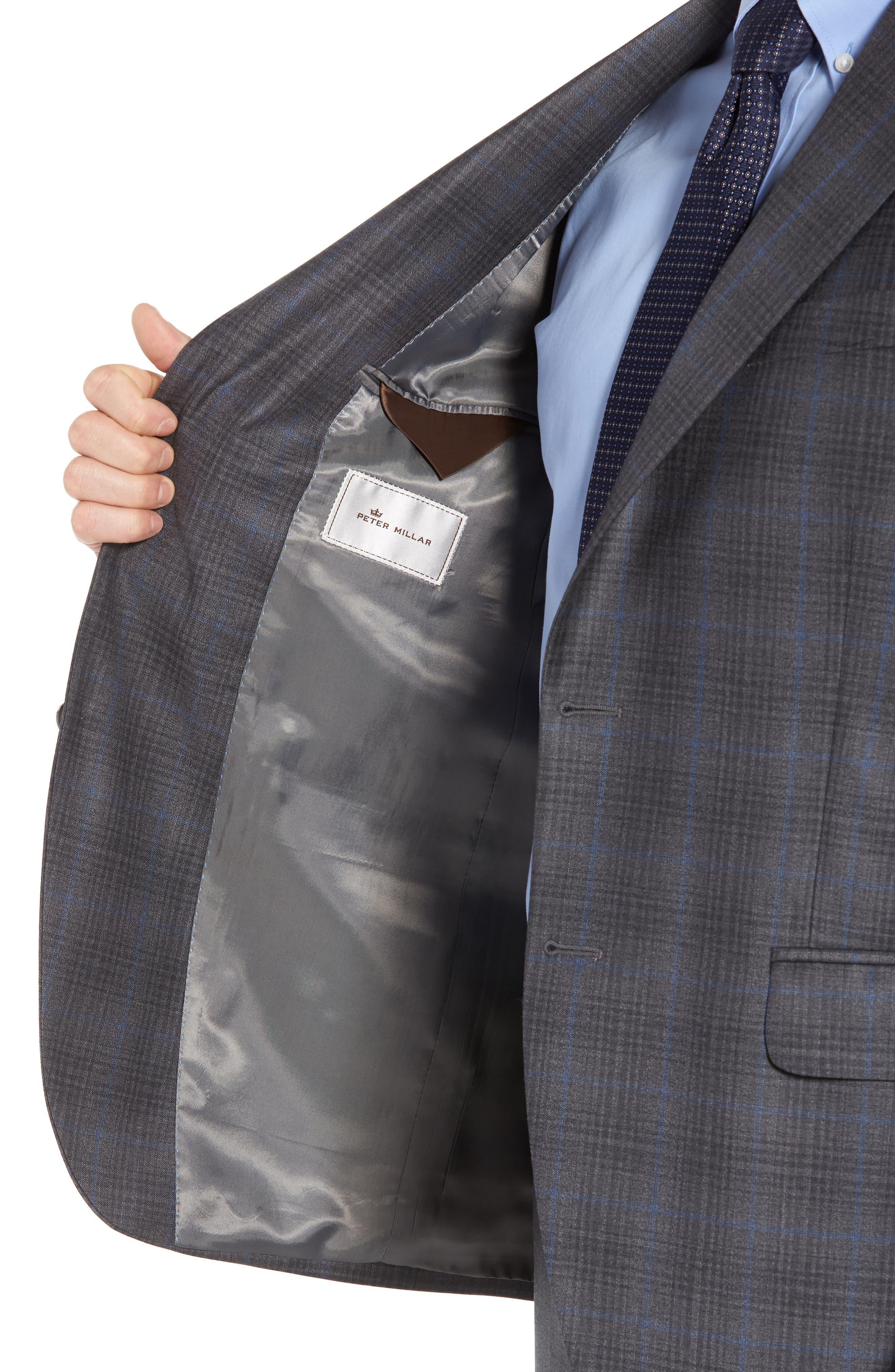 Classic Fit Plaid Wool Sport Coat,                             Alternate thumbnail 4, color,                             Grey/Blue