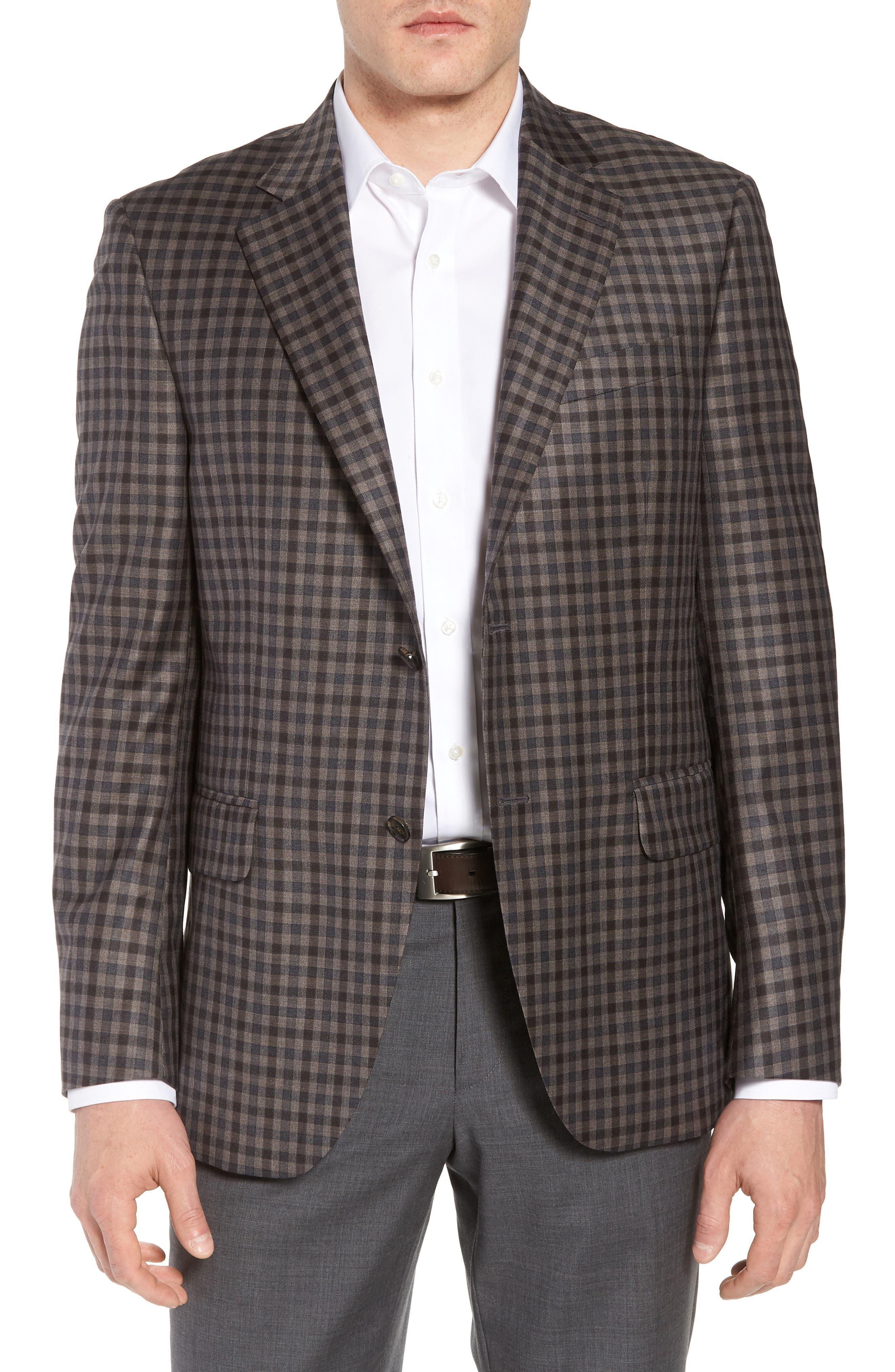 Classic Fit Check Wool Sport Coat,                             Main thumbnail 1, color,                             Brown/Grey