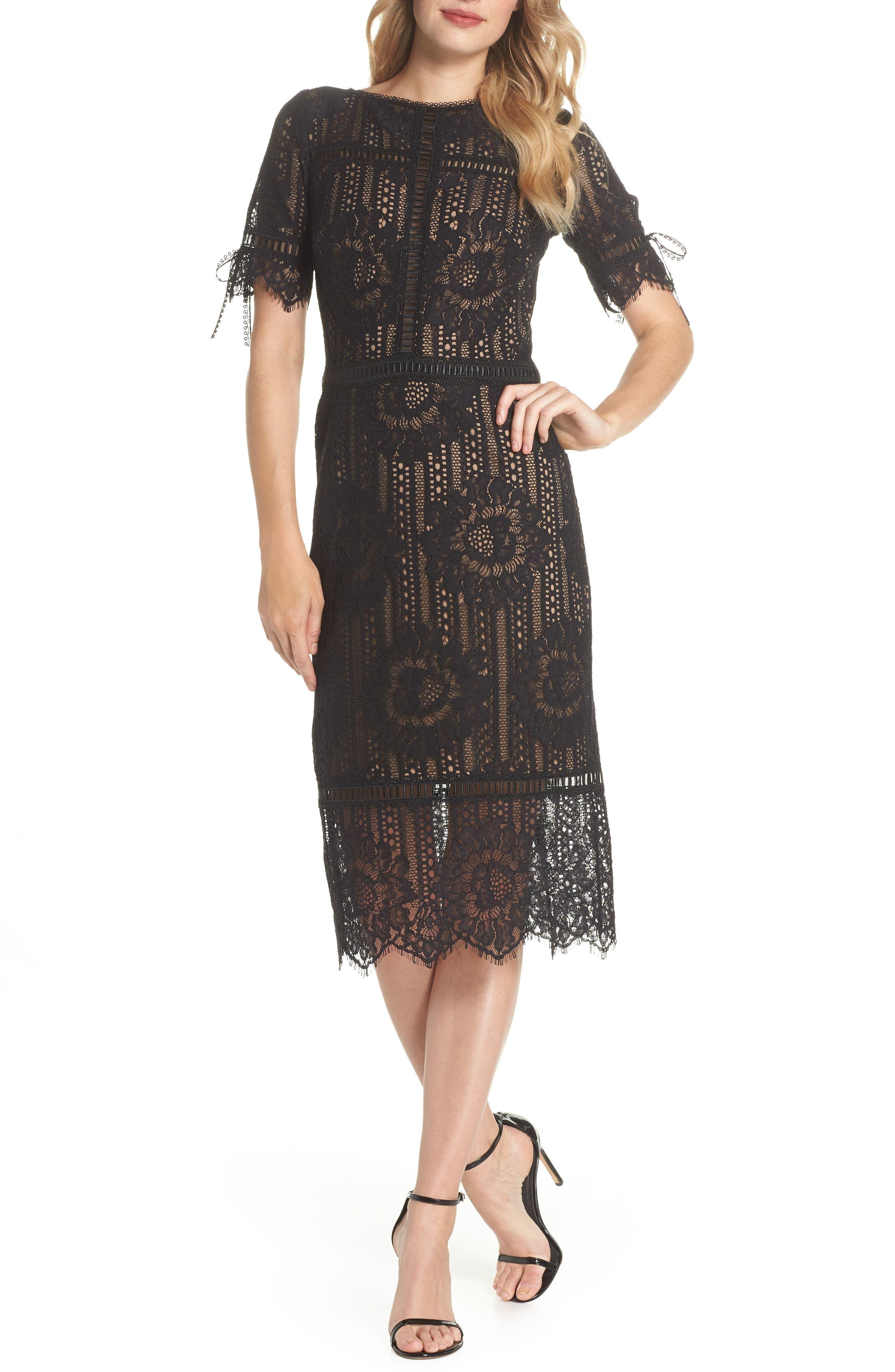 Tie Sleeve Lace Dress,                             Main thumbnail 1, color,                             Black/ Nude