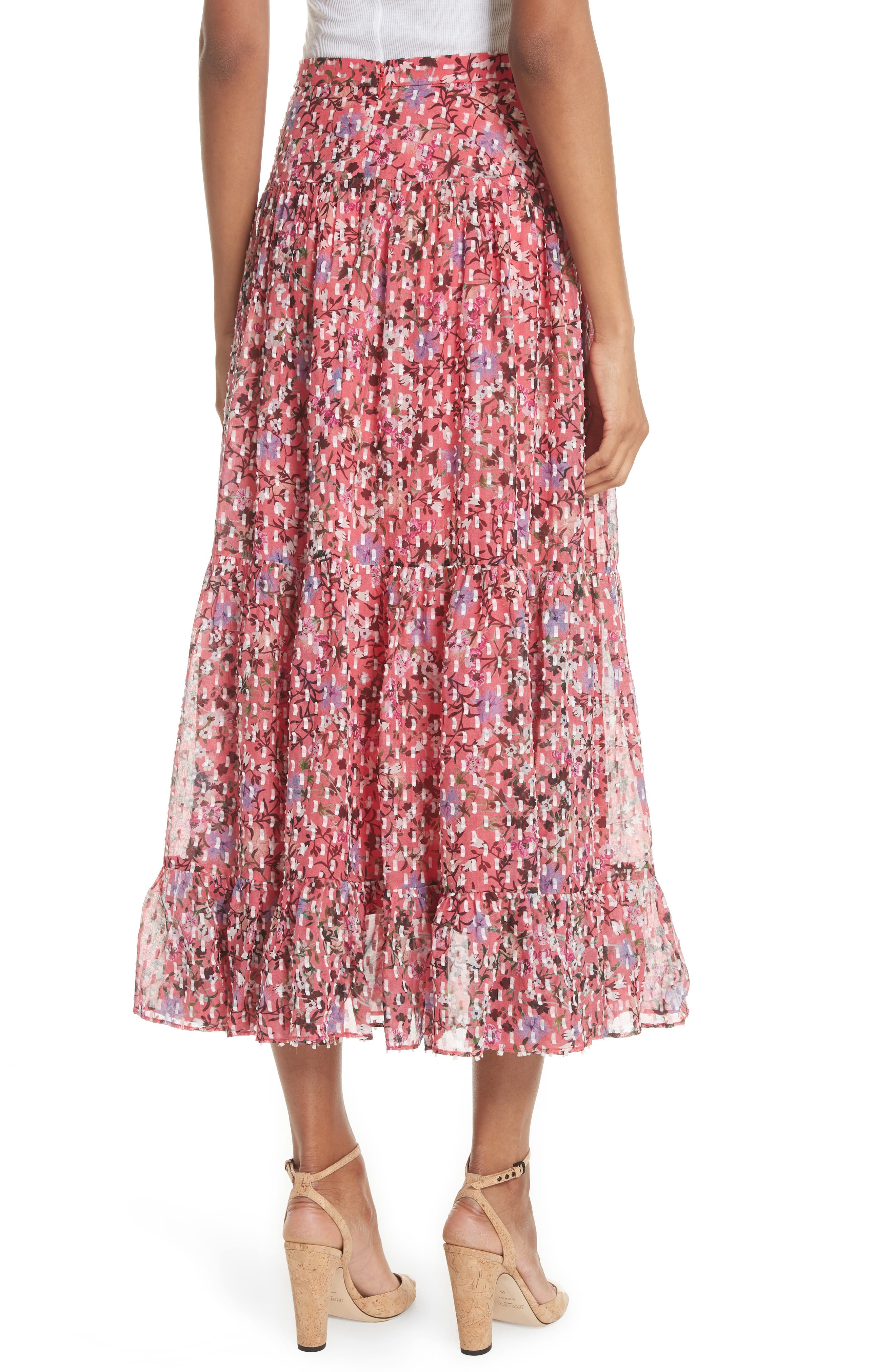 Andie Ruffle Hem Silk Blend Skirt,                             Alternate thumbnail 2, color,                             Coral Meadow