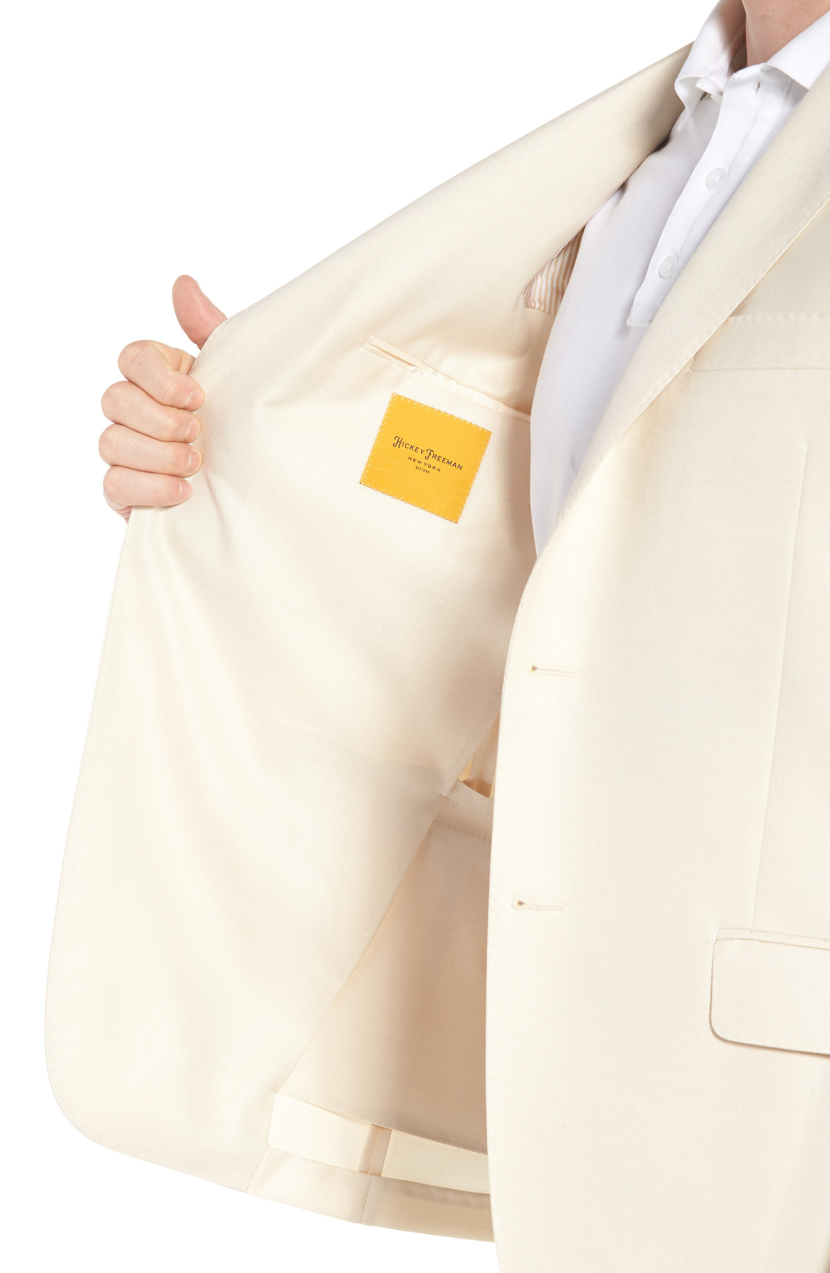 Classic B Fit Wool & Silk Blazer,                             Alternate thumbnail 4, color,                             Ivory Solid