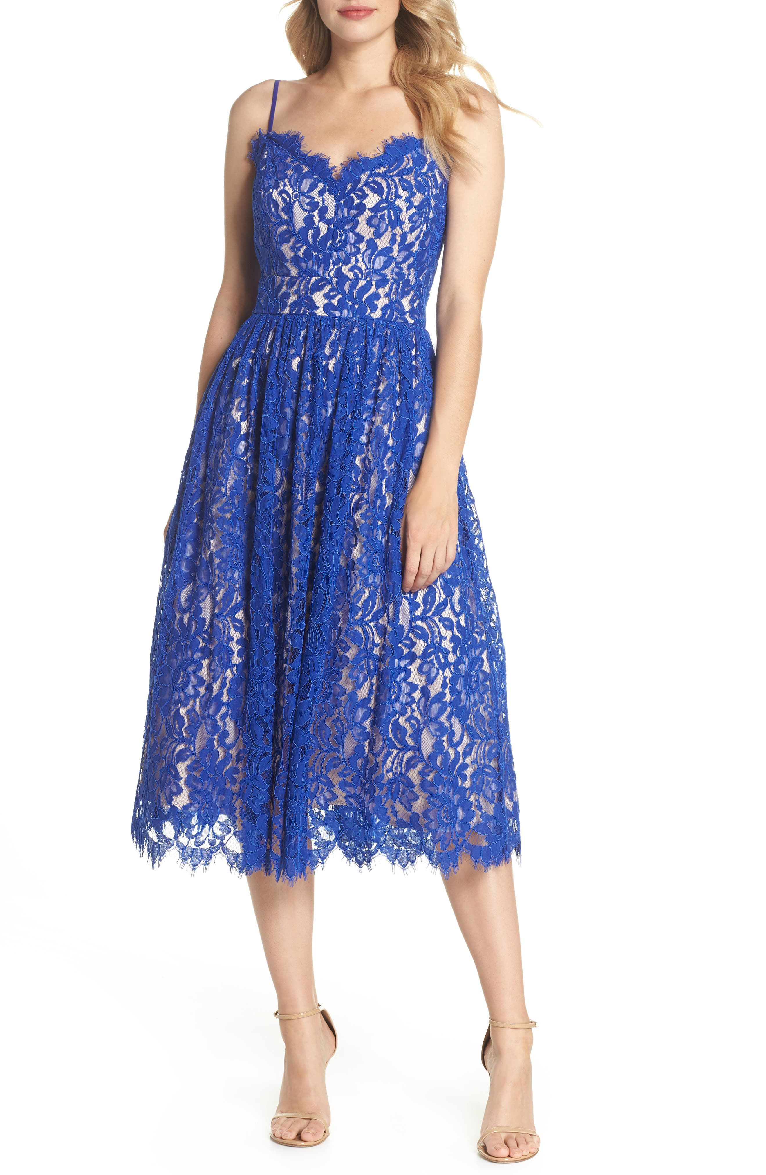 Gathered Lace Midi Dress,                         Main,                         color, Cobalt