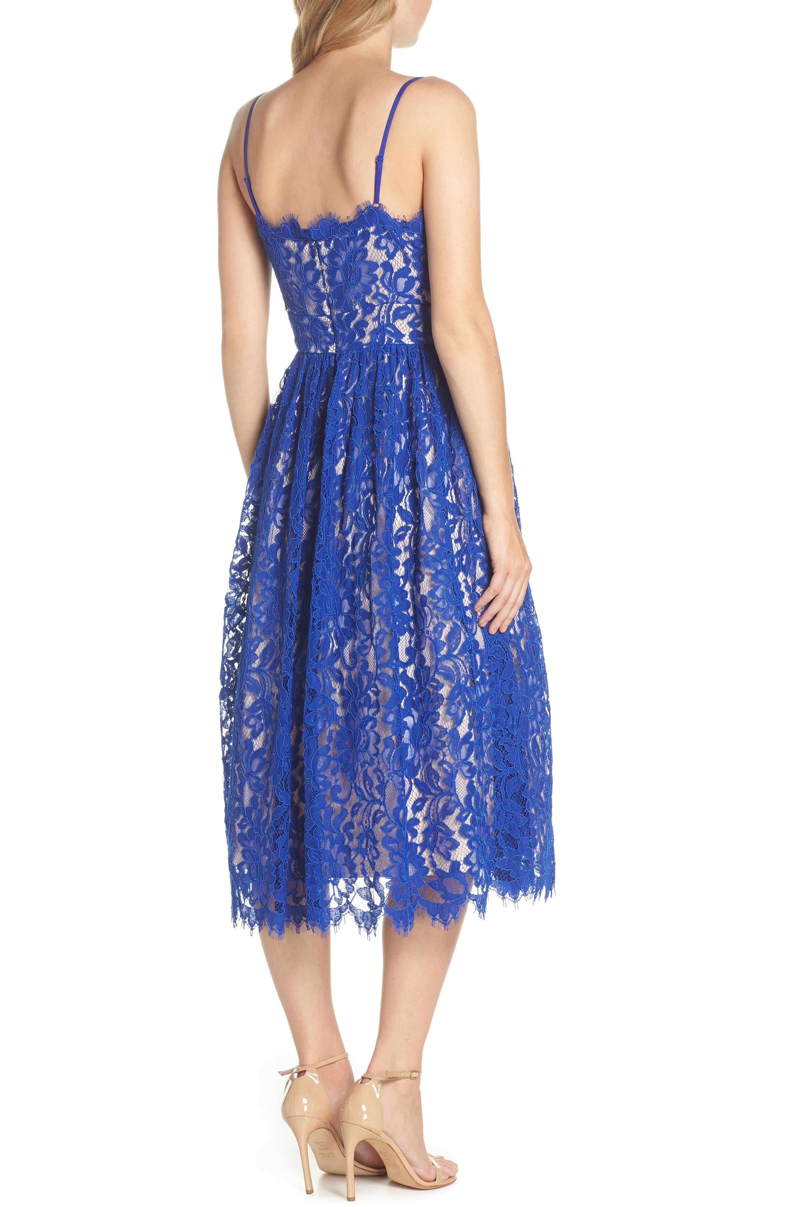 Gathered Lace Midi Dress,                             Alternate thumbnail 2, color,                             Cobalt
