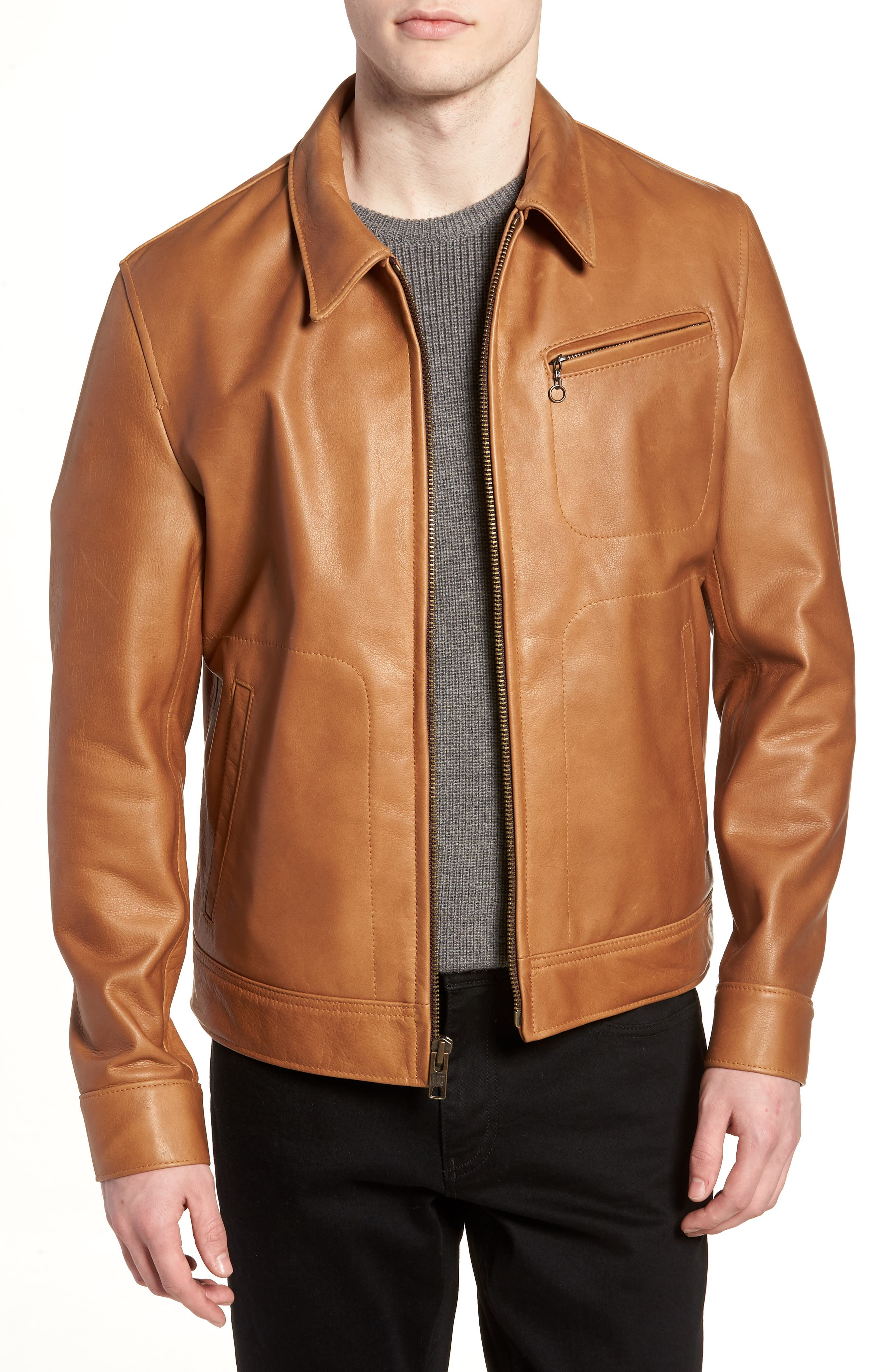 Waxy Leather Jacket,                         Main,                         color, Rust