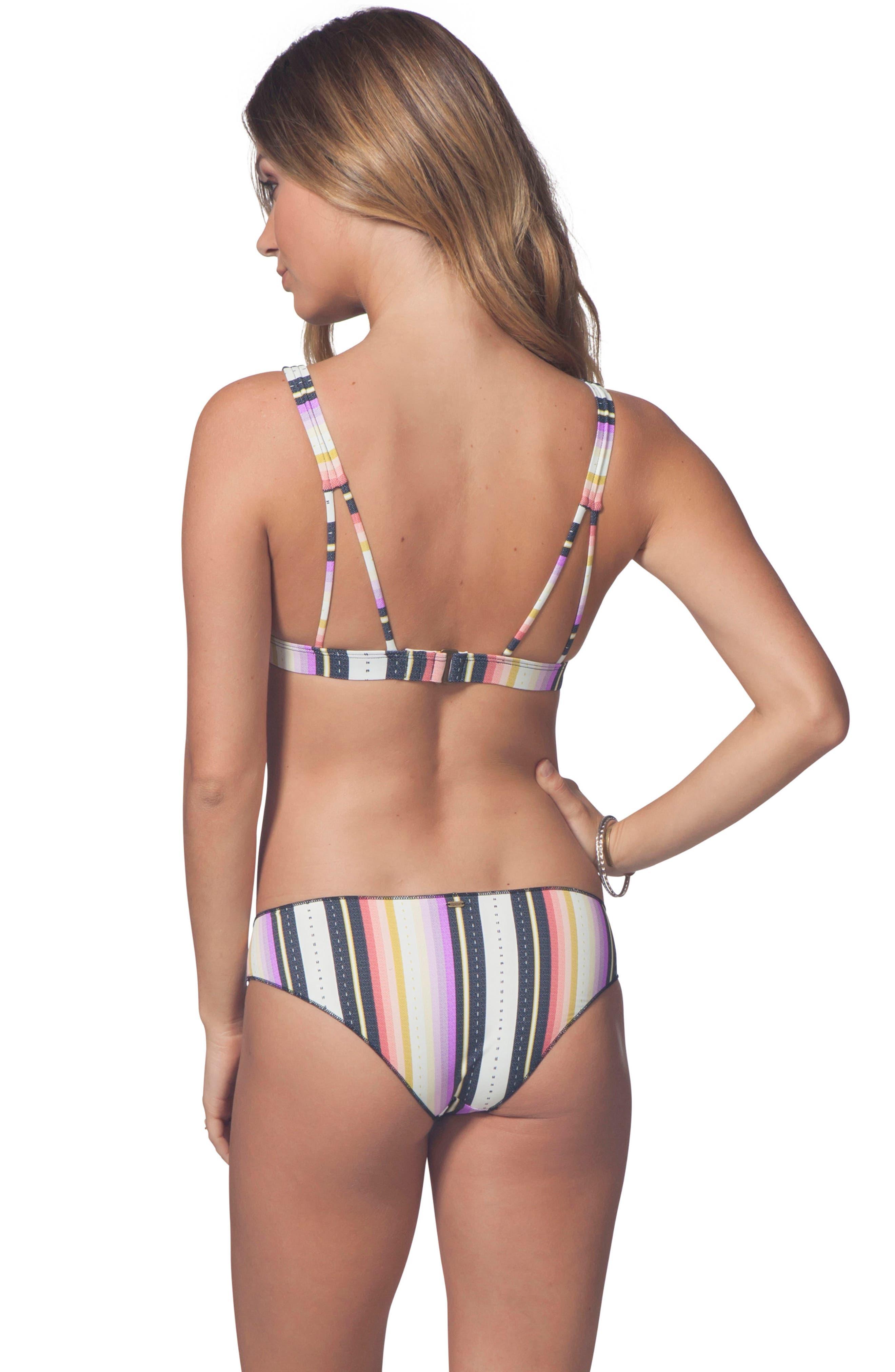 Sayulita Stripe Hipster Bikini Bottoms,                             Alternate thumbnail 3, color,                             White Multi