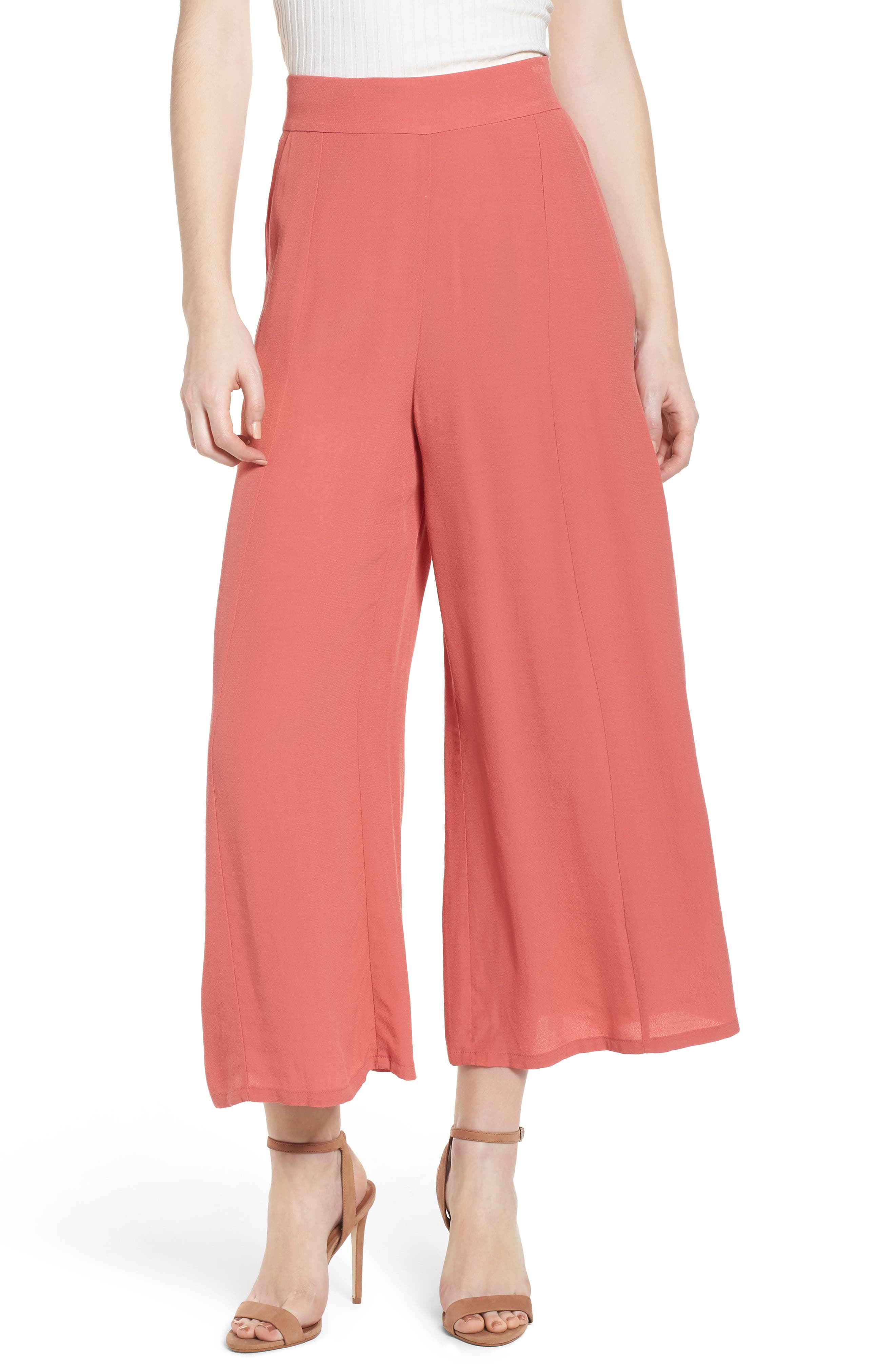 High Waist Crop Wide Leg Pants,                         Main,                         color, Coral Faded