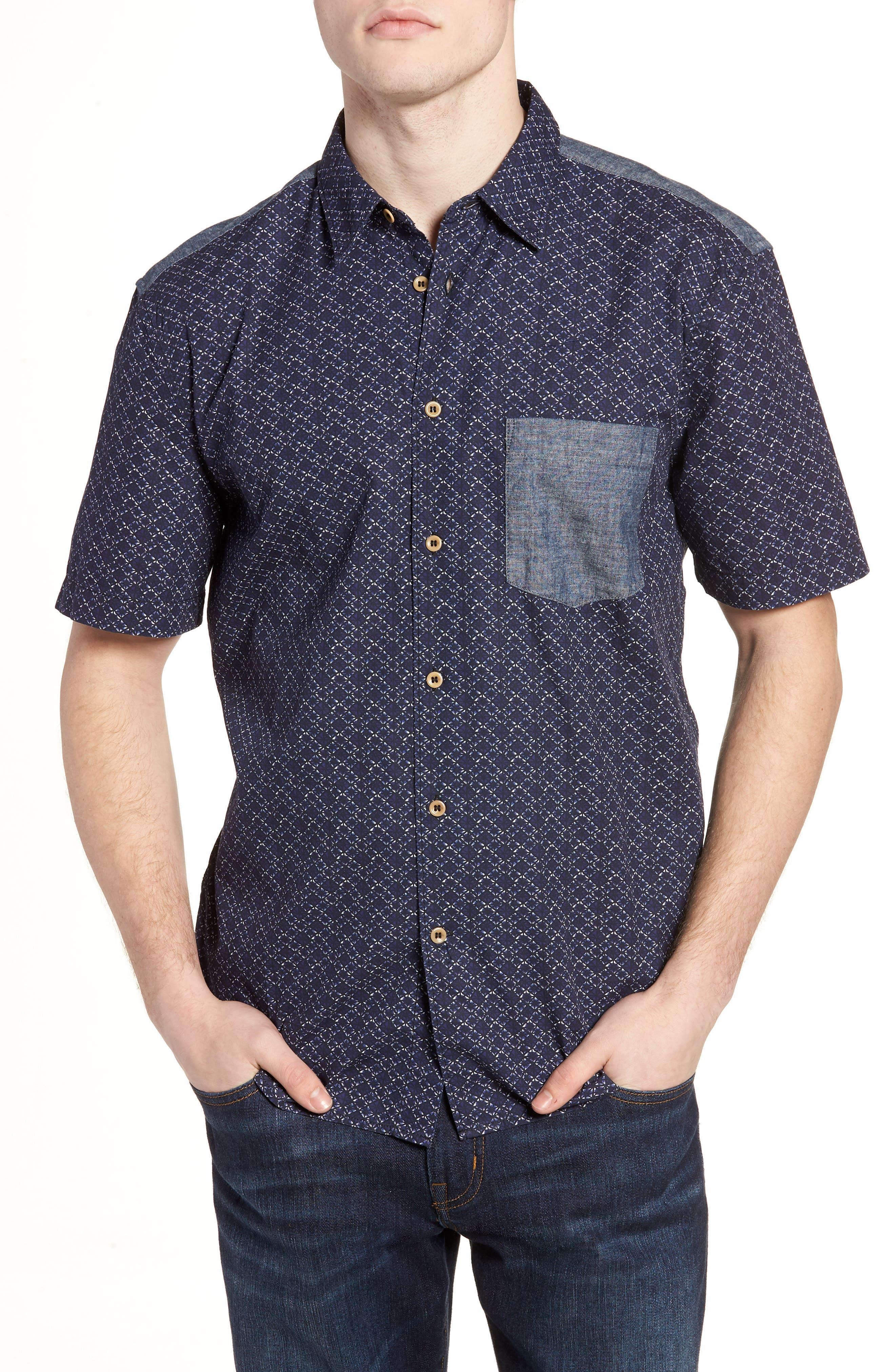 Kast Relaxed Fit Short Sleeve Sport Shirt,                         Main,                         color, Deep Cobalt