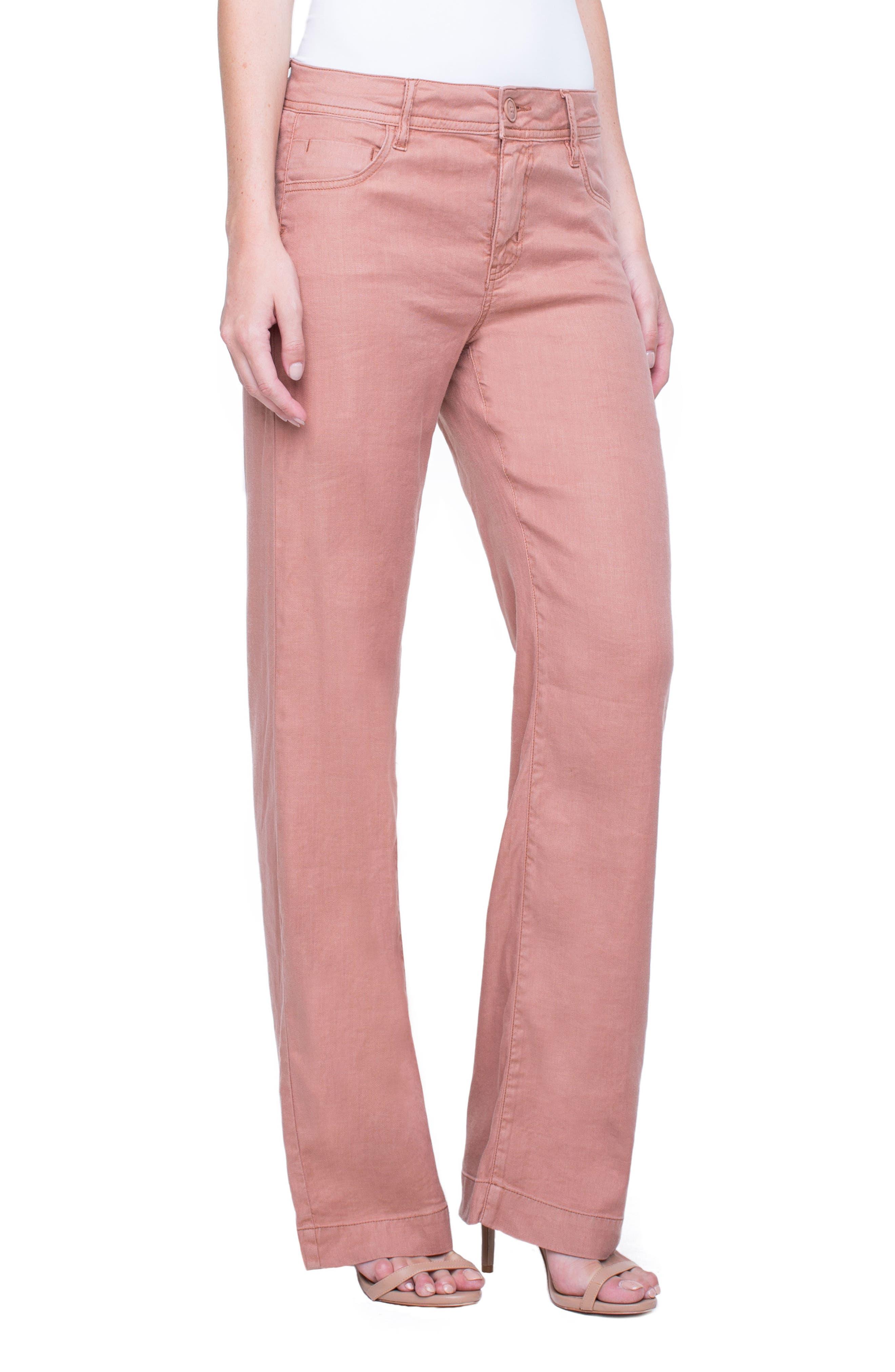 Emma Stretch Linen Pants,                             Alternate thumbnail 3, color,                             Tuscan Sunset
