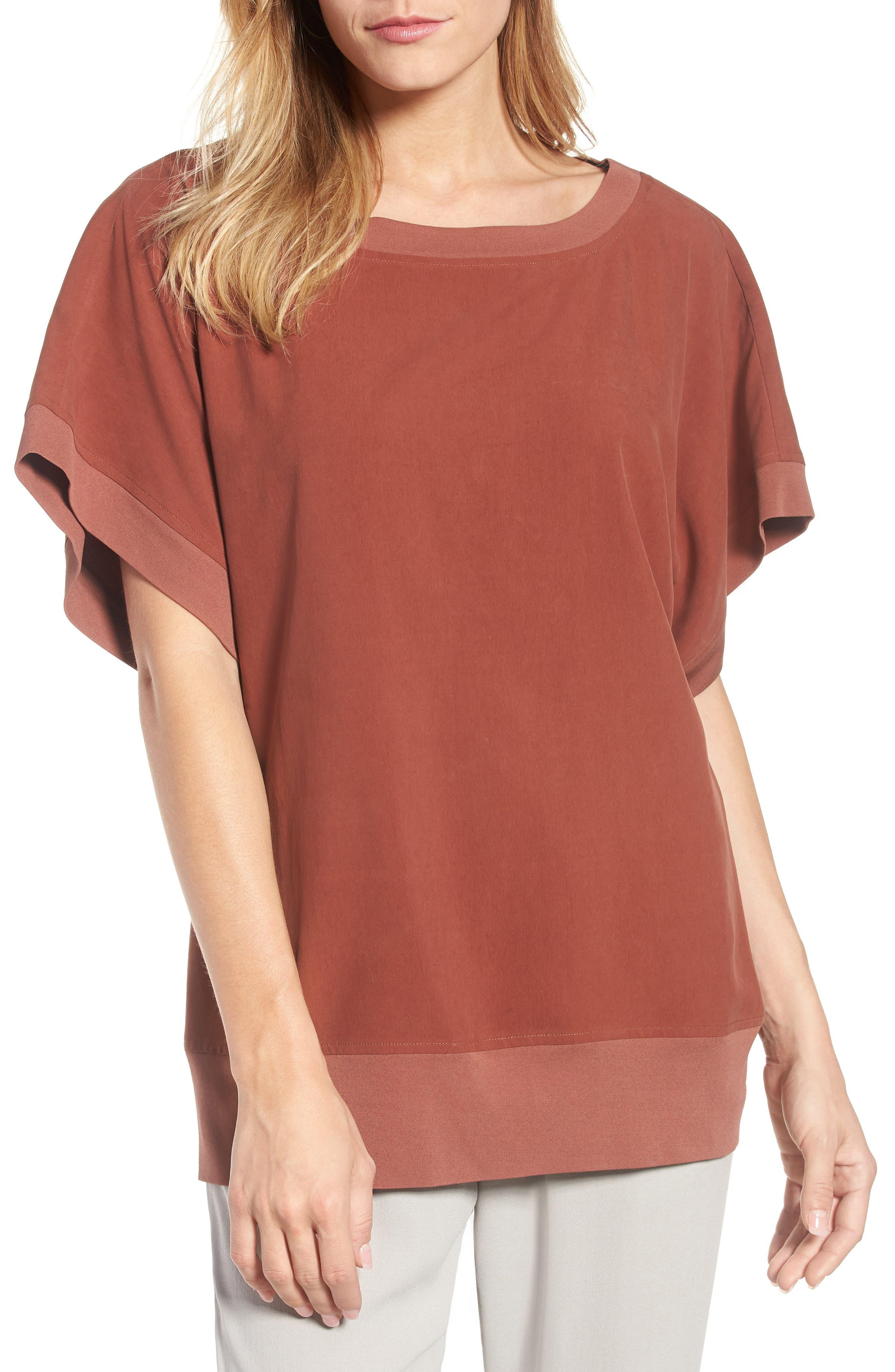 Contrast Trim Silk Top,                         Main,                         color, Russet