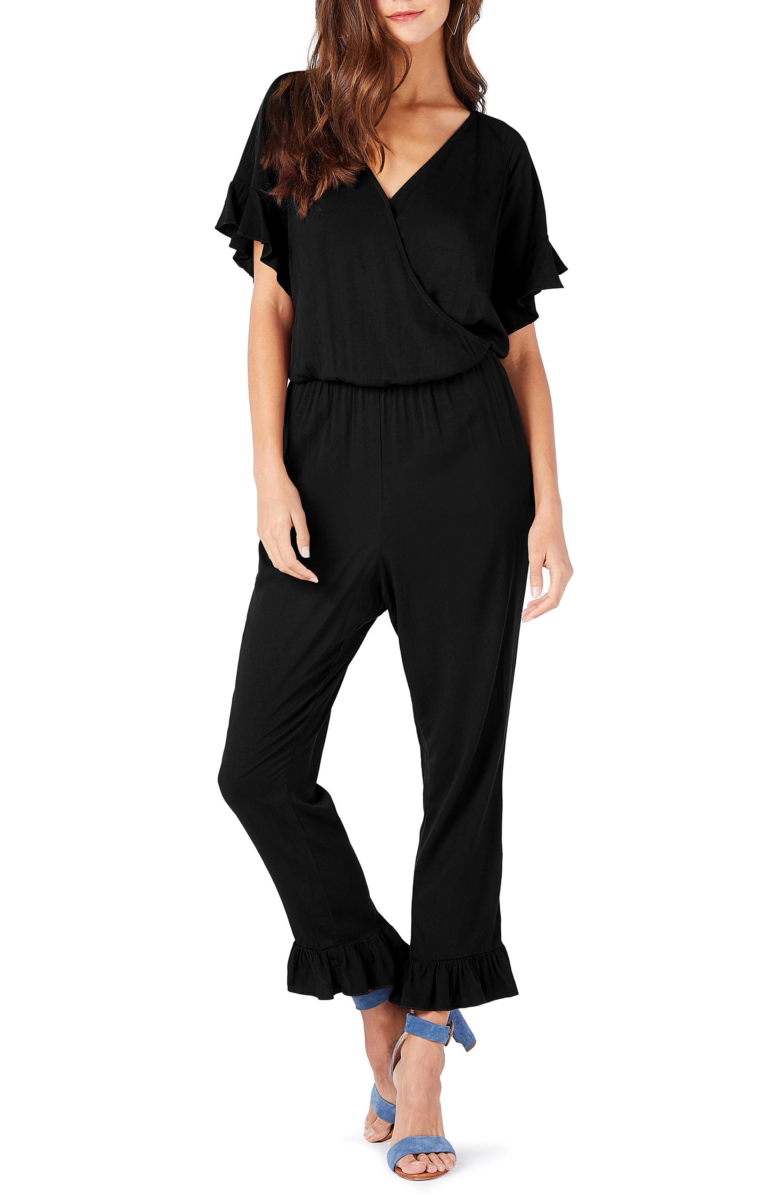 Ruffled Jumpsuit,                         Main,                         color, Black