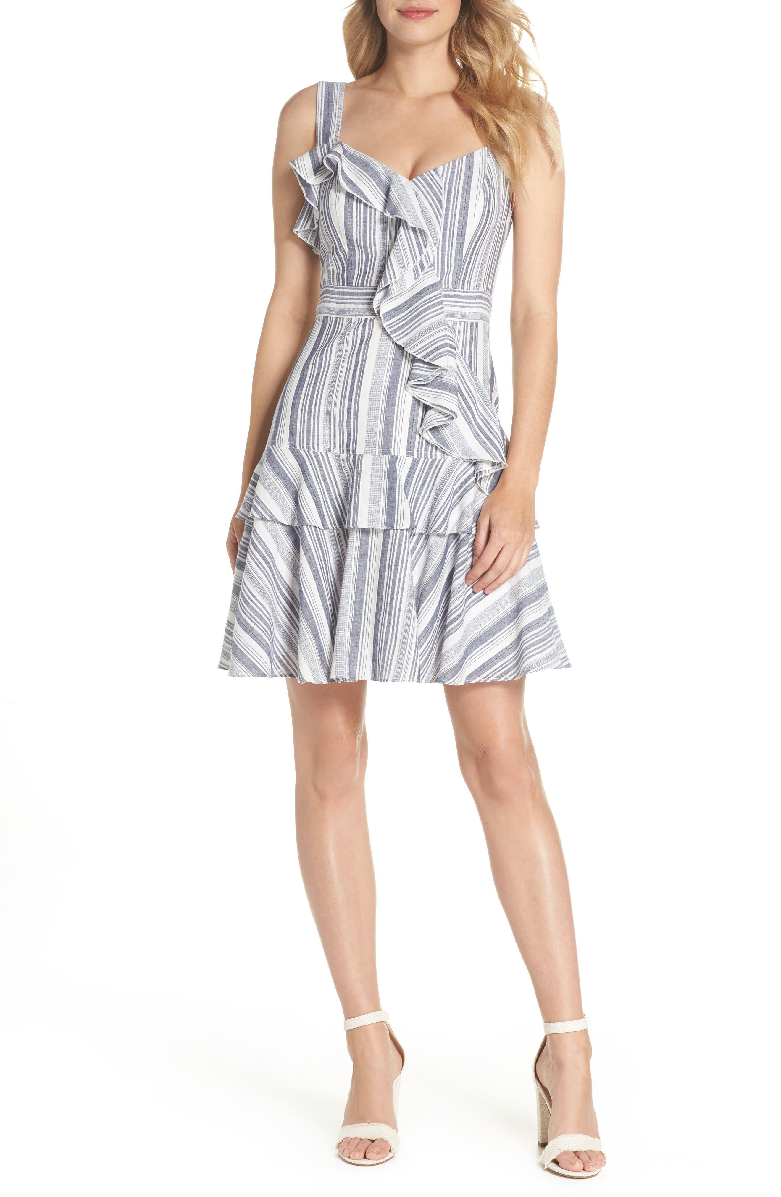 Stripe Ruffle Sundress,                         Main,                         color, Navy