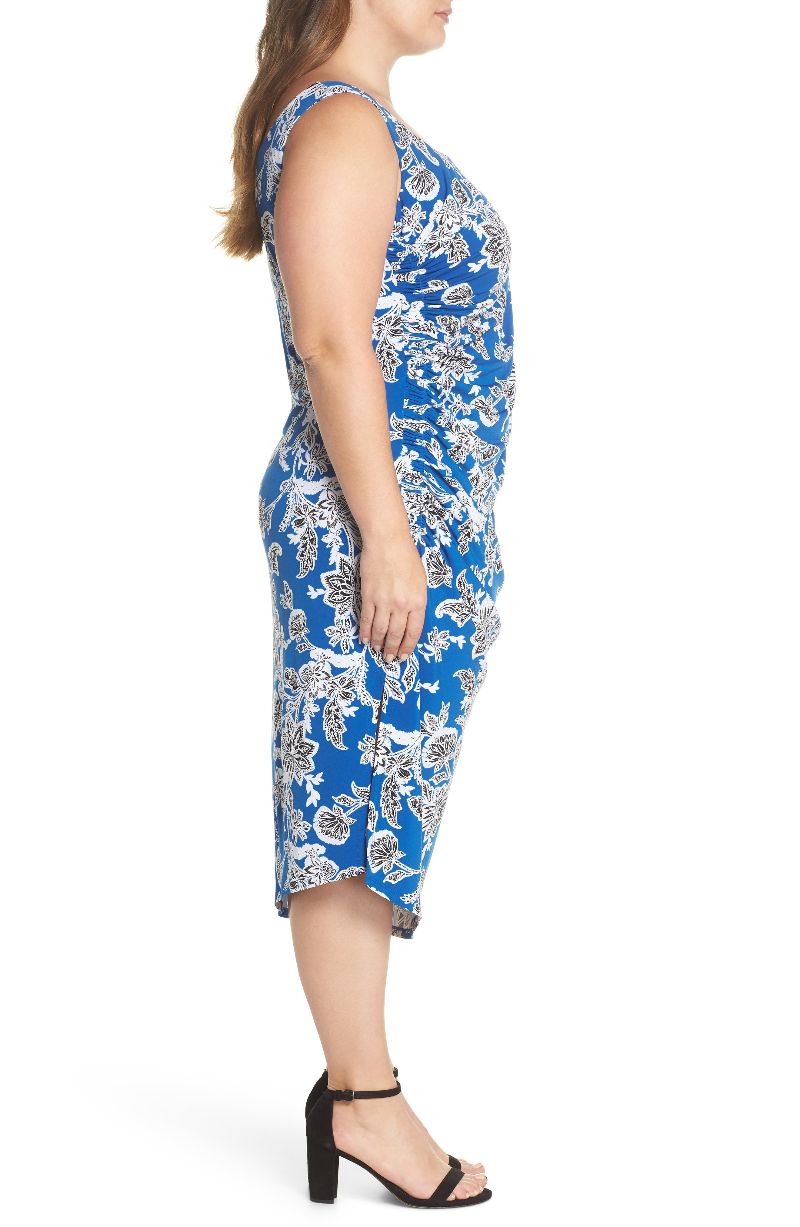 Woodblock Floral Side Ruched Body-Con Dress,                             Alternate thumbnail 3, color,                             Amalfi