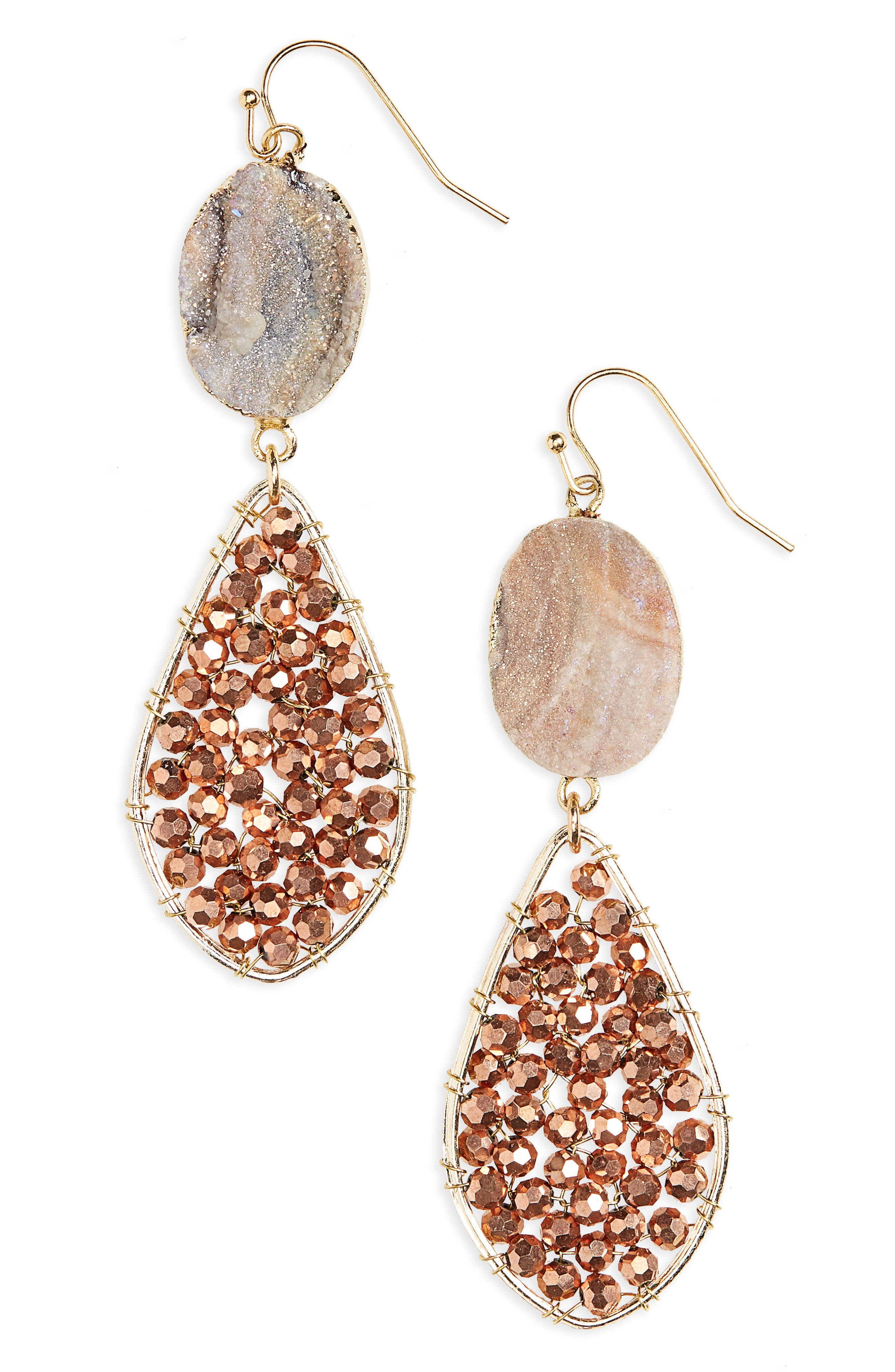 Panacea Beaded Teardrop Drusy Earrings
