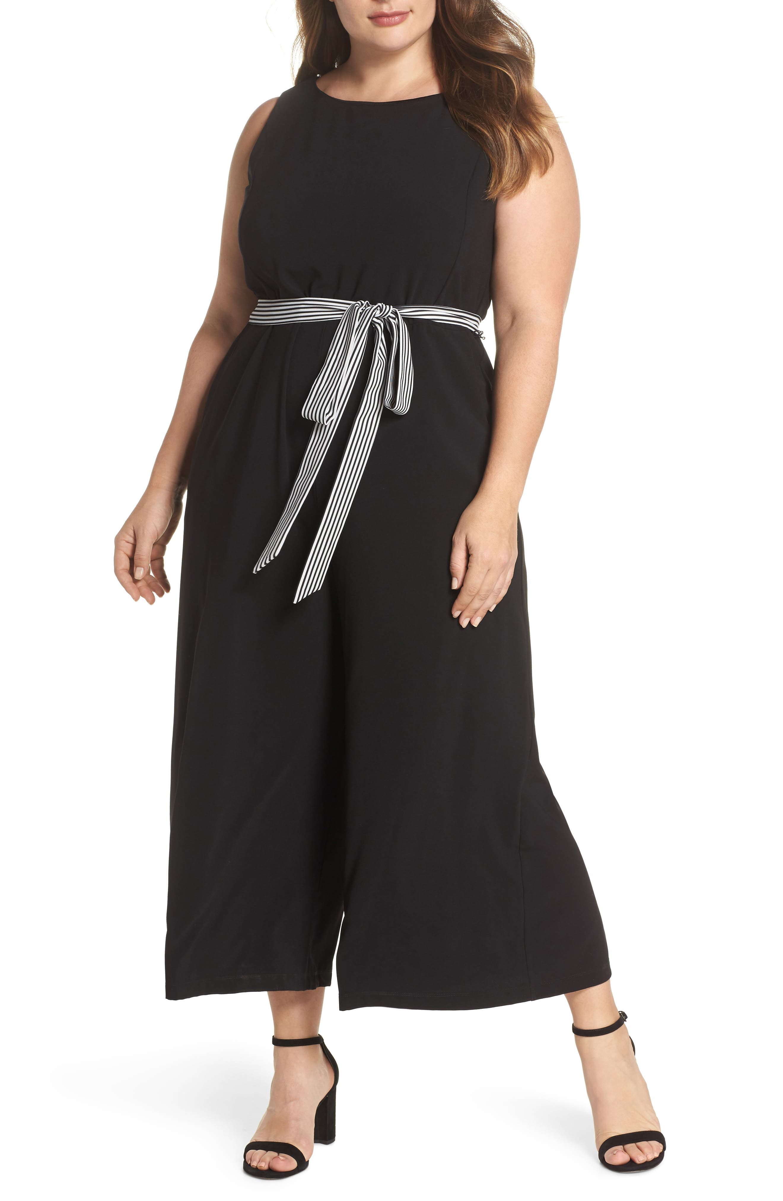 Gabby Skye Belted Culotte Jumpsuit (Plus Size)