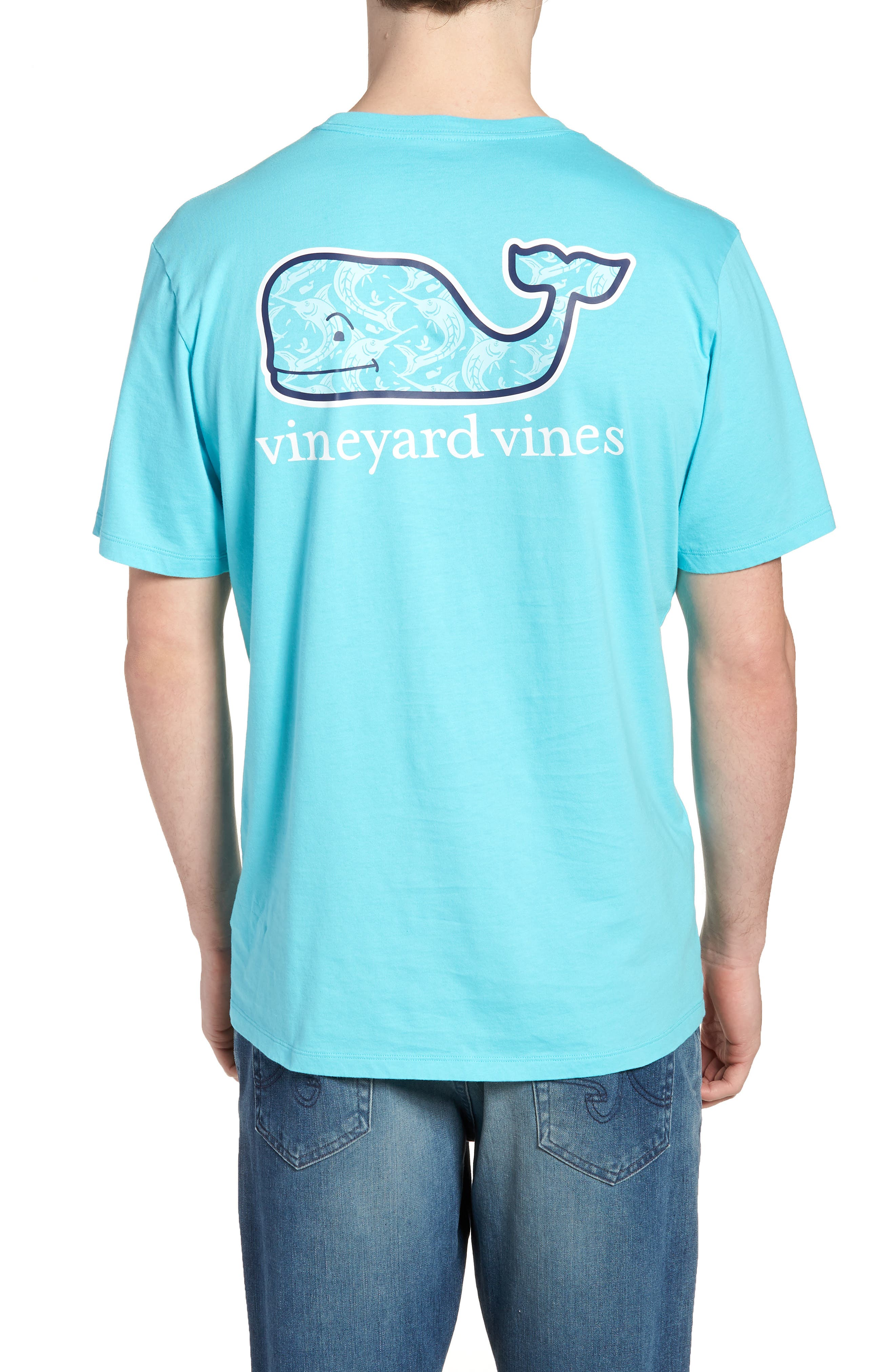 Marlin out of Water Whale Fill Pocket T-Shirt,                             Alternate thumbnail 2, color,                             Turquoise