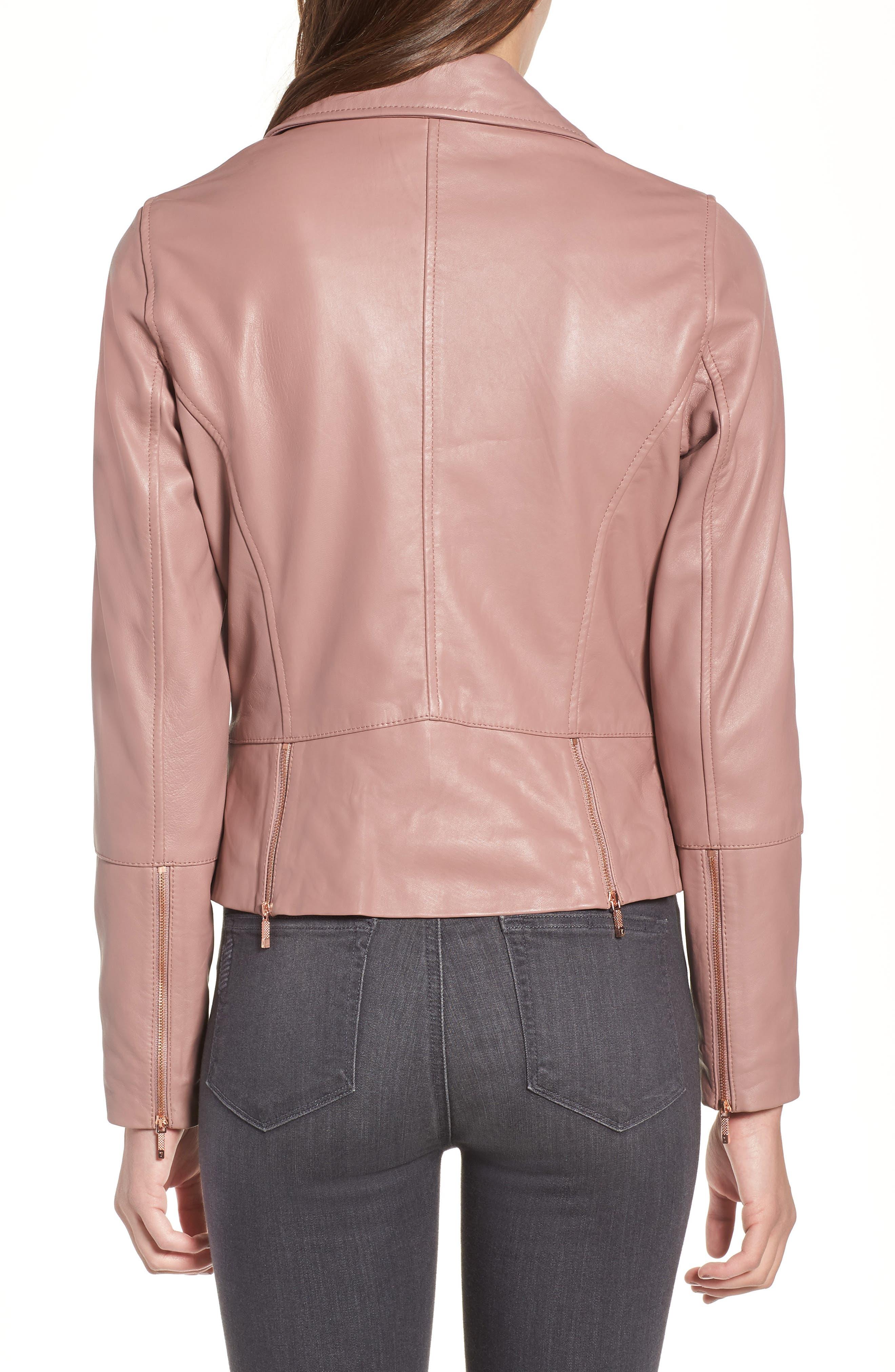 Lizia Leather Biker Jacket,                             Alternate thumbnail 2, color,                             Dusky Pink