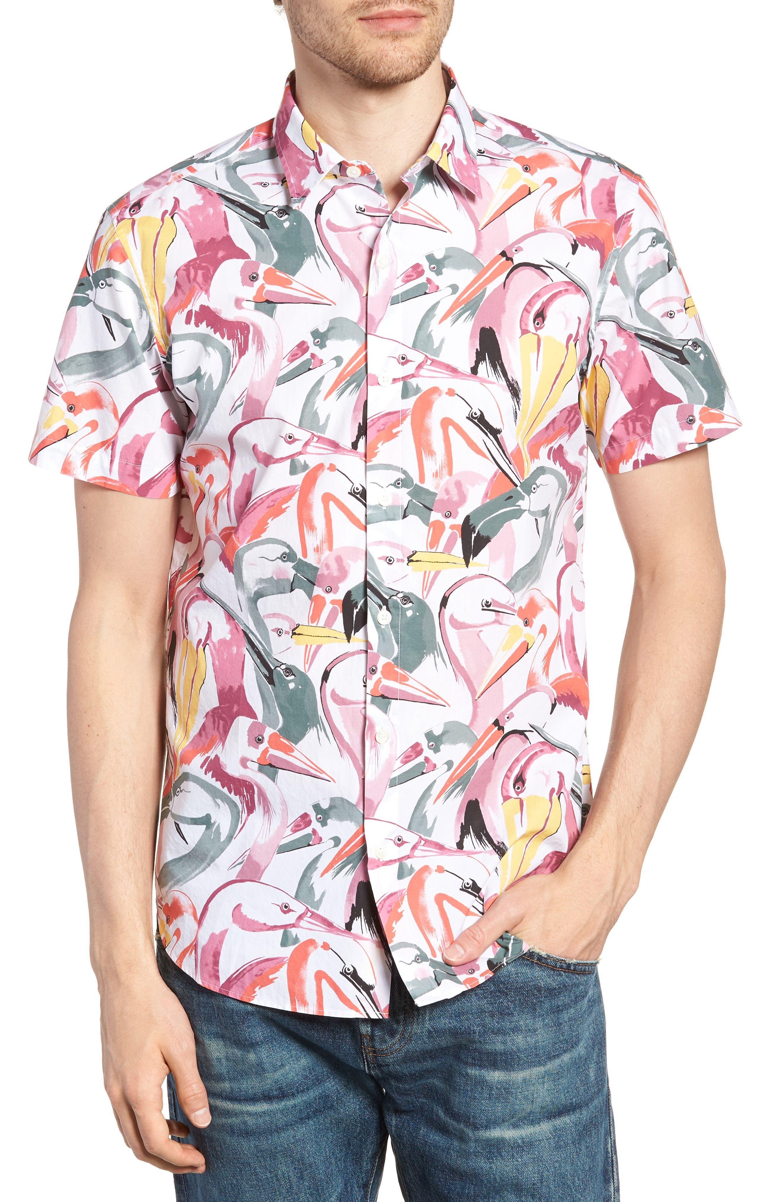 Premium Slim Fit Print Short Sleeve Sport Shirt,                         Main,                         color, Bird Print