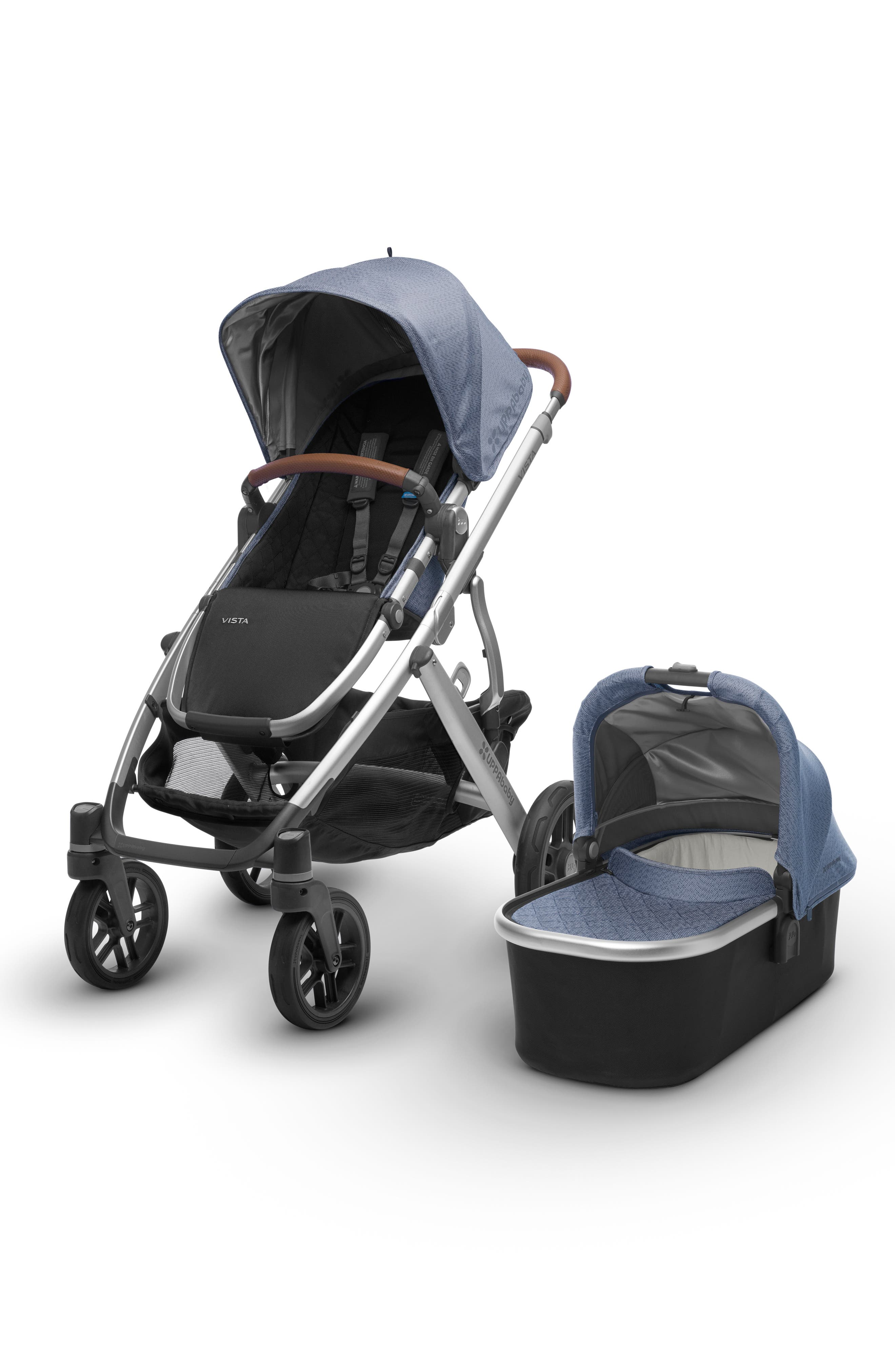 2018 VISTA Aluminum Frame Convertible Complete Stroller with Leather Trim,                             Alternate thumbnail 3, color,                             Henry Blue Marl/ Silver
