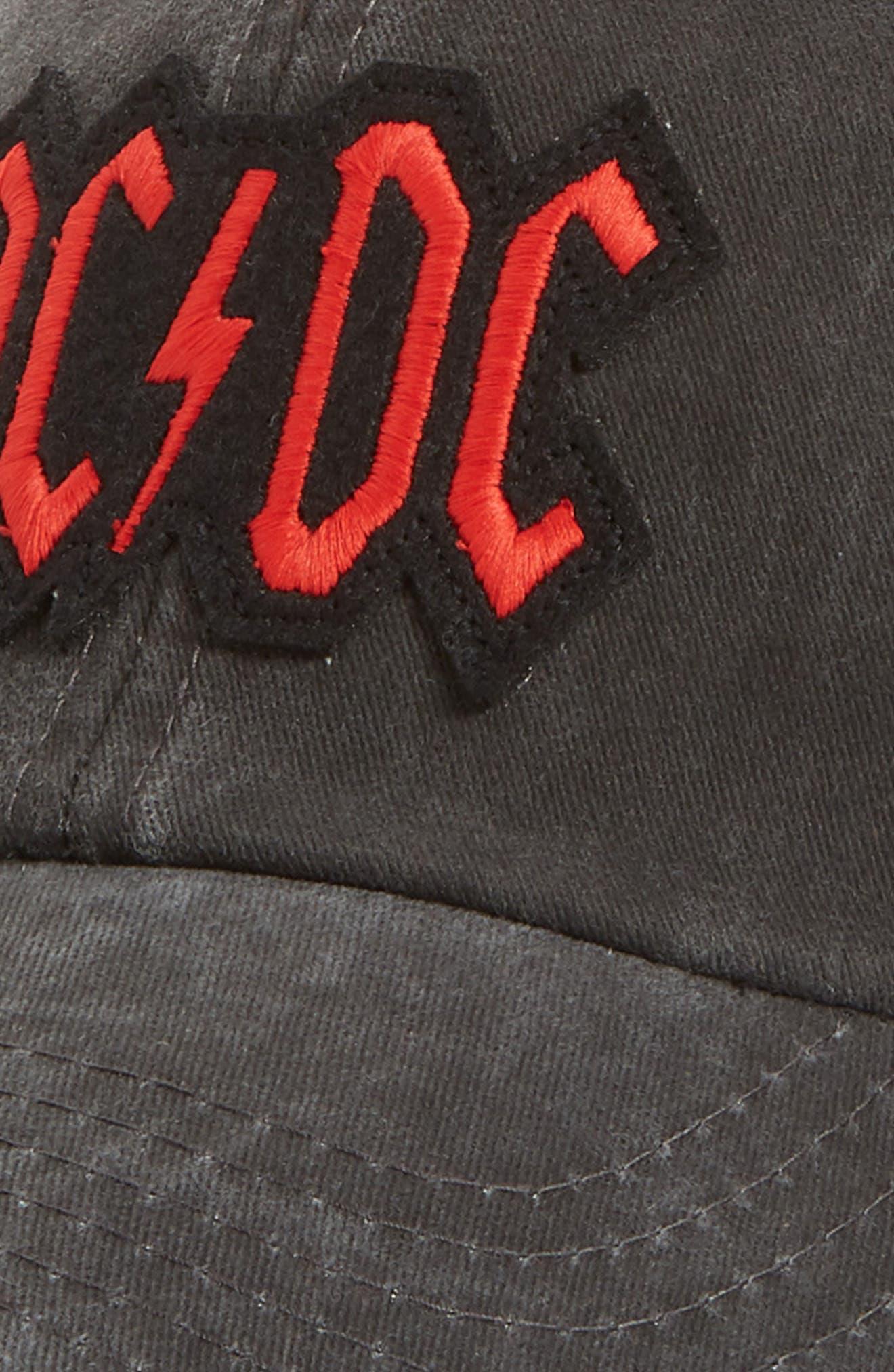 Raglan Bones AC/DC Ball Cap,                             Alternate thumbnail 3, color,                             Black