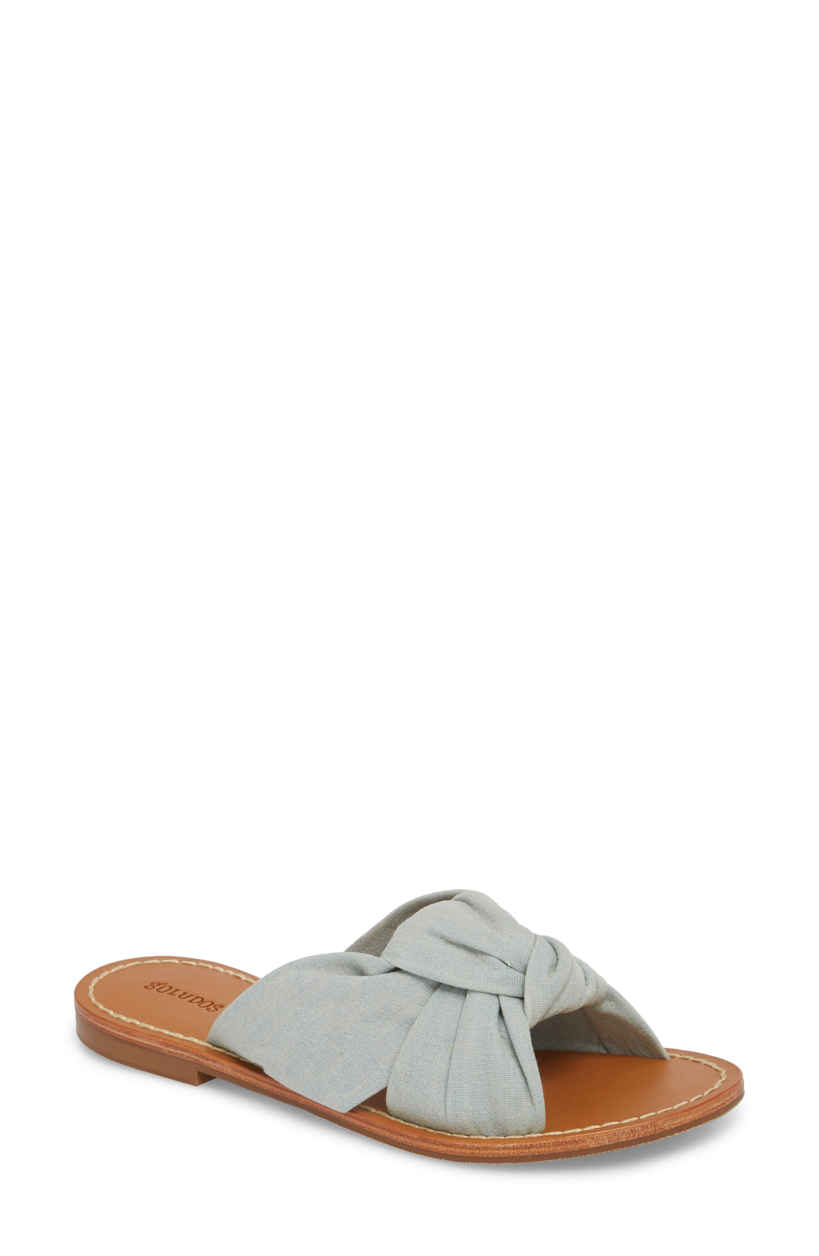 Knotted Slide Sandal,                         Main,                         color, Chambray