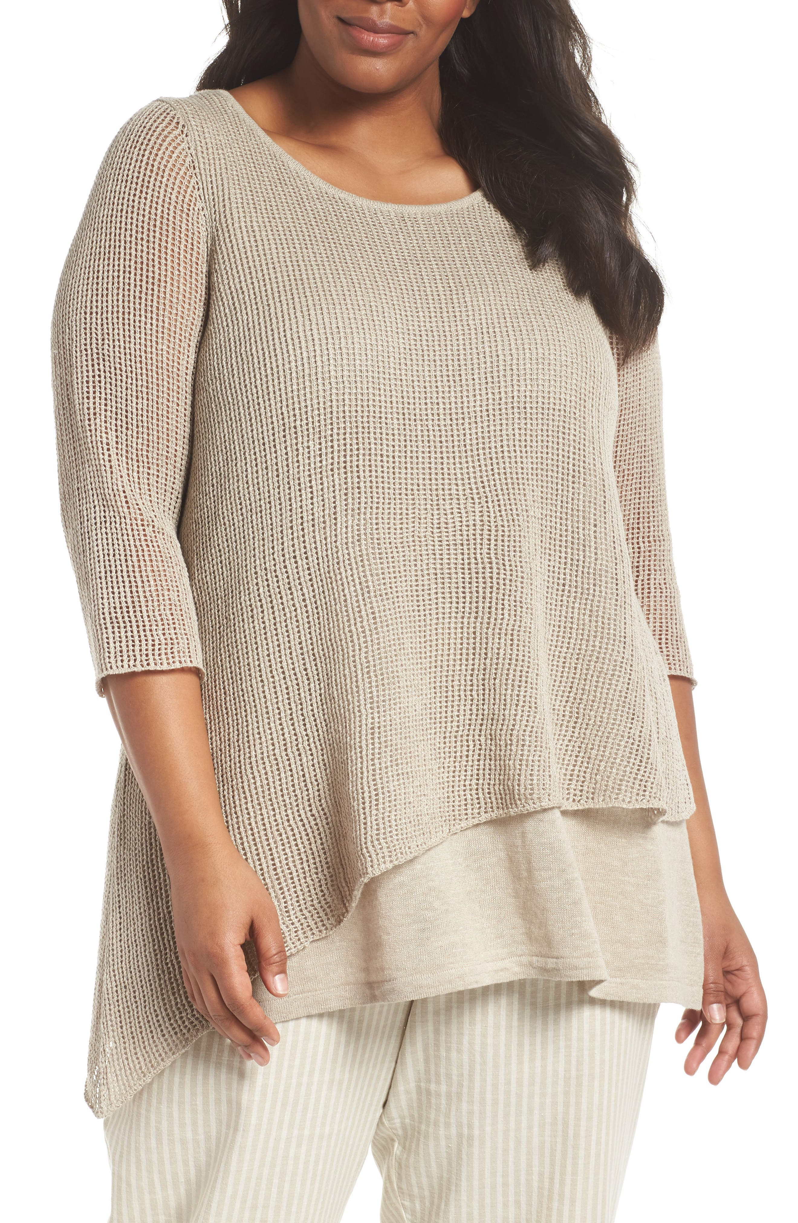 Eileen Fisher Layered Organic Linen Tunic Sweater (Plus Size)