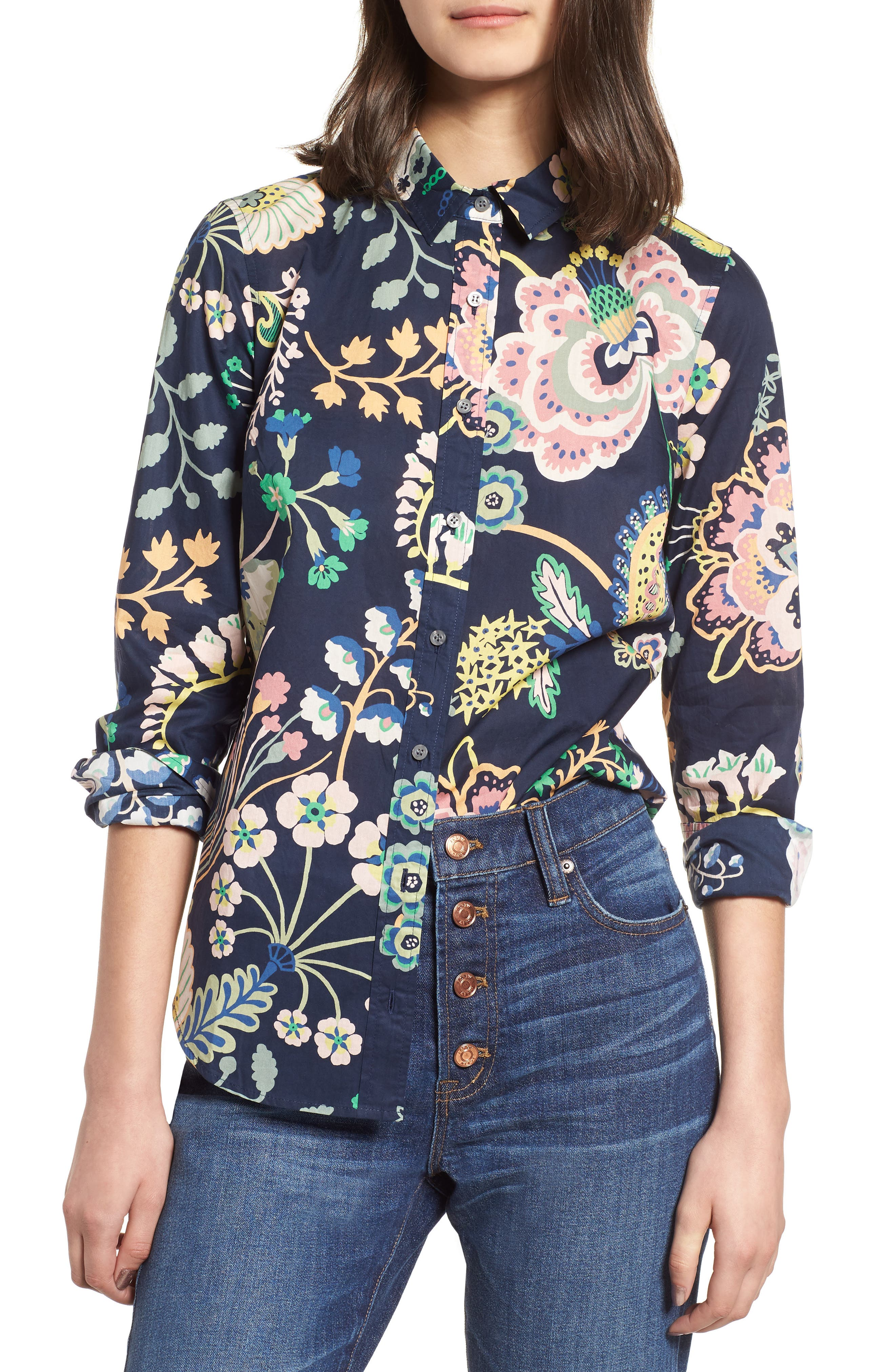 Perfect Liberty<sup>®</sup> Tana Lawn Shirt,                             Main thumbnail 1, color,                             Navy Multi