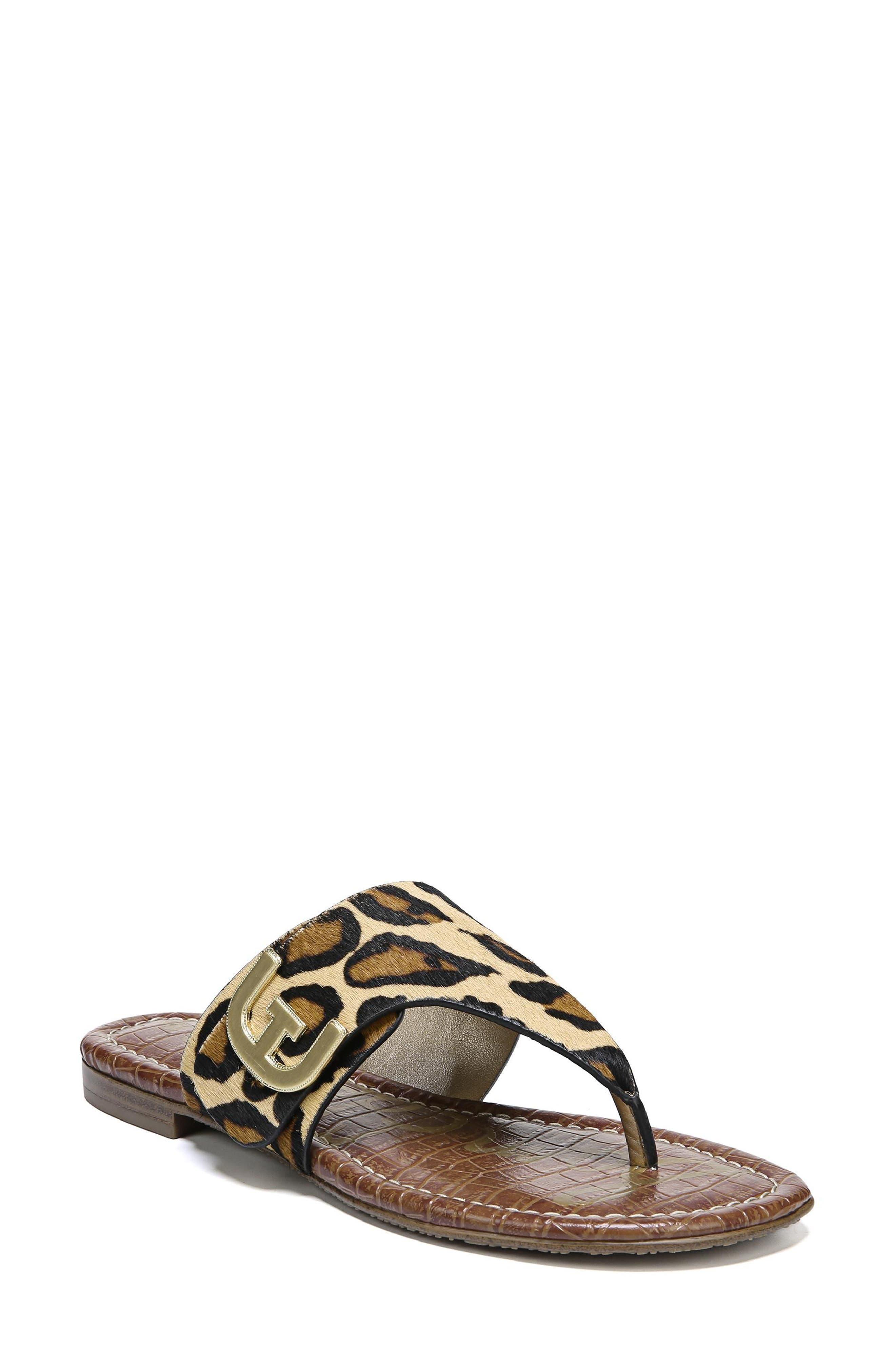Barry Genuine Calf Hair V-Strap Sandal,                         Main,                         color, New Nude Leopard Brahma Hair