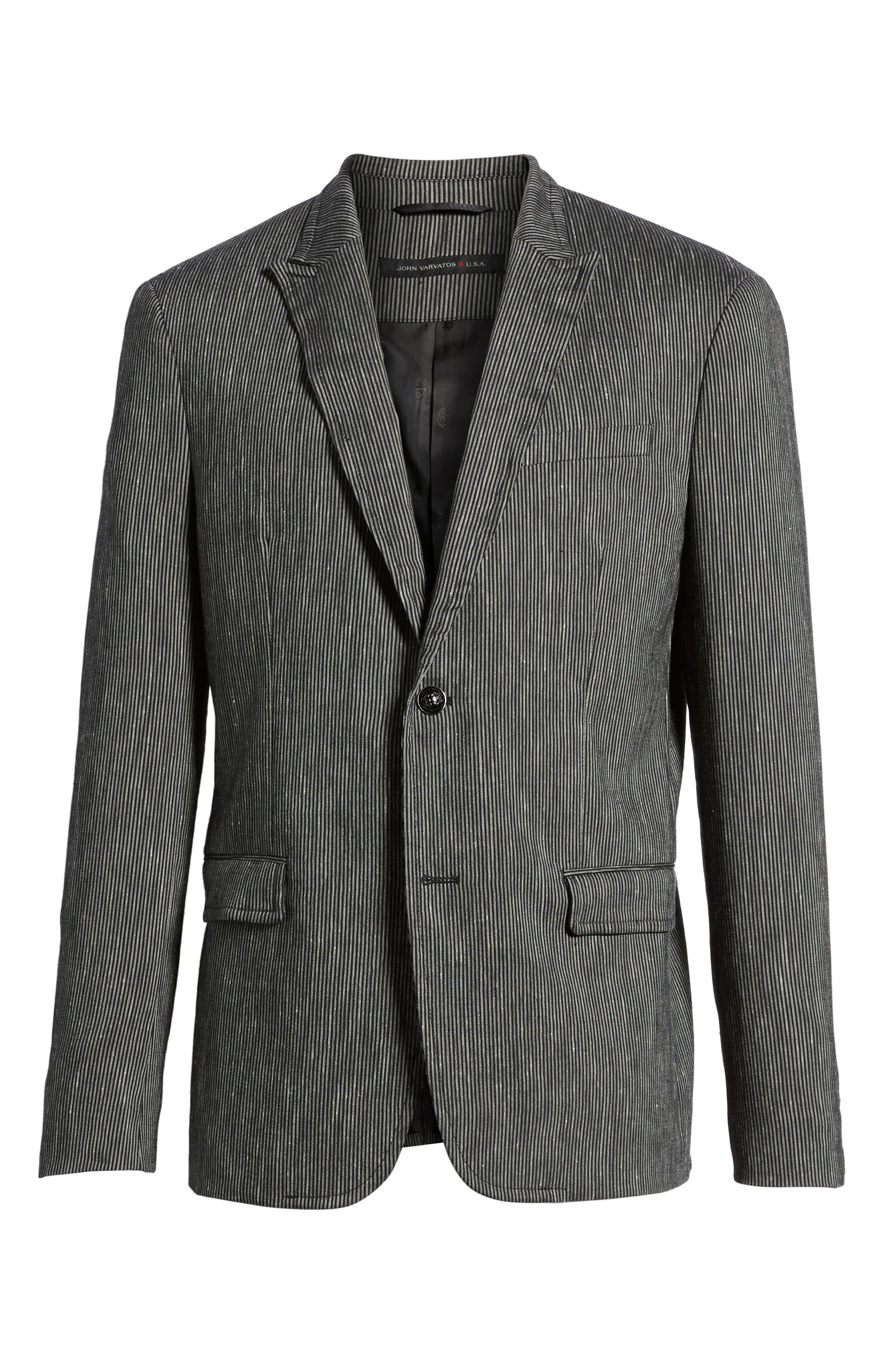 Regular Fit Stretch Stripe Linen Blend Sport Coat,                             Alternate thumbnail 6, color,                             Black/White