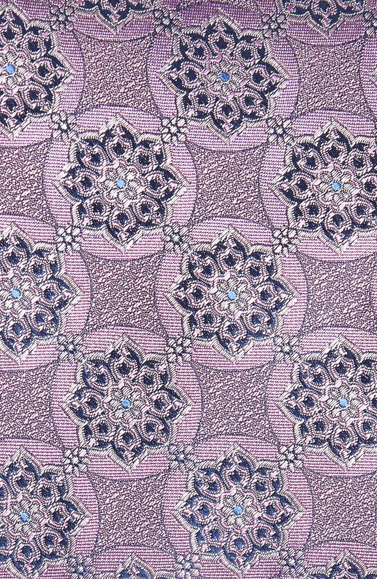 Medallion Silk Tie,                             Alternate thumbnail 2, color,                             Medium Pink