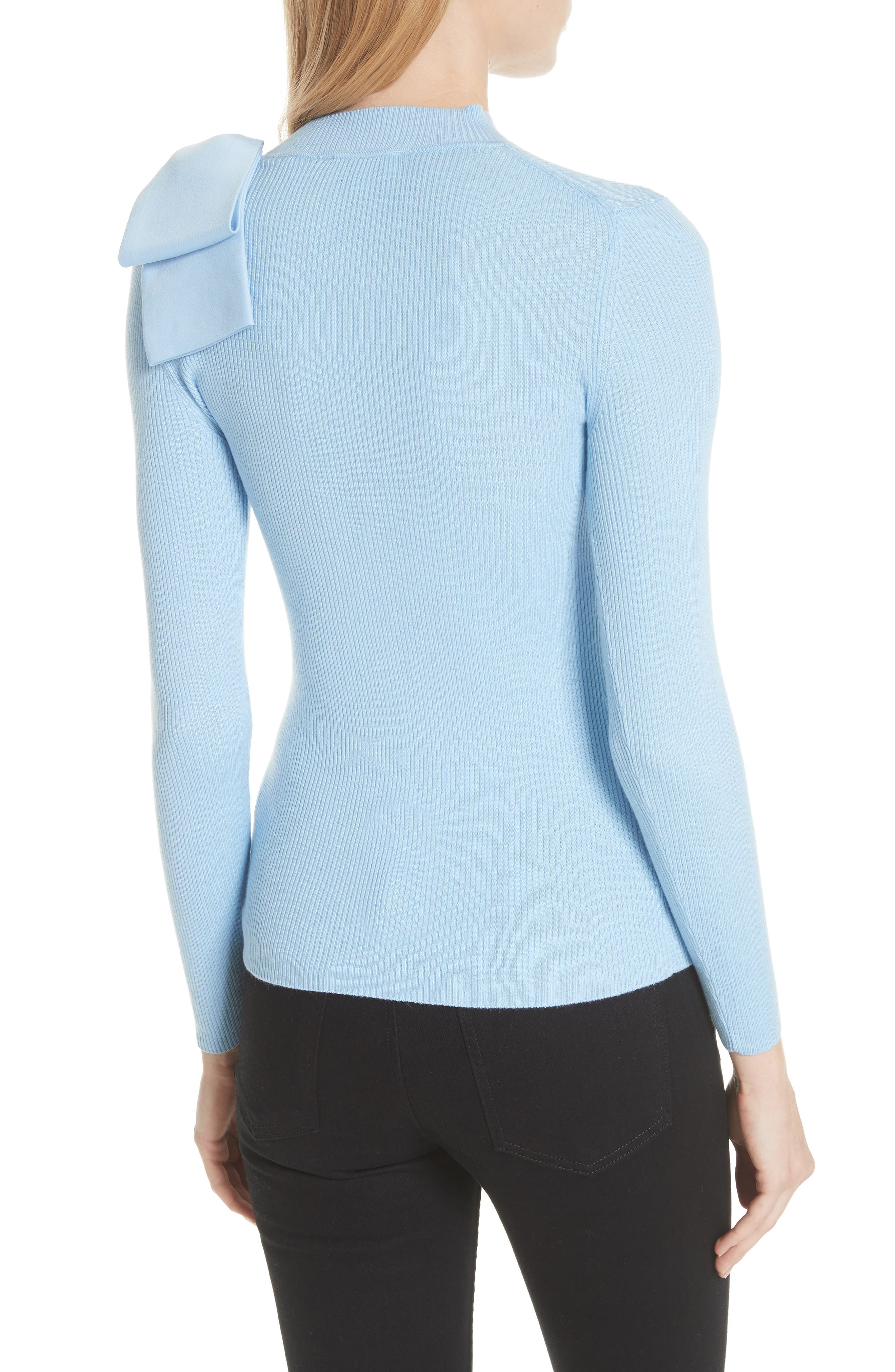 Bow Detail Ribbed Sweater,                             Alternate thumbnail 2, color,                             Pale Blue