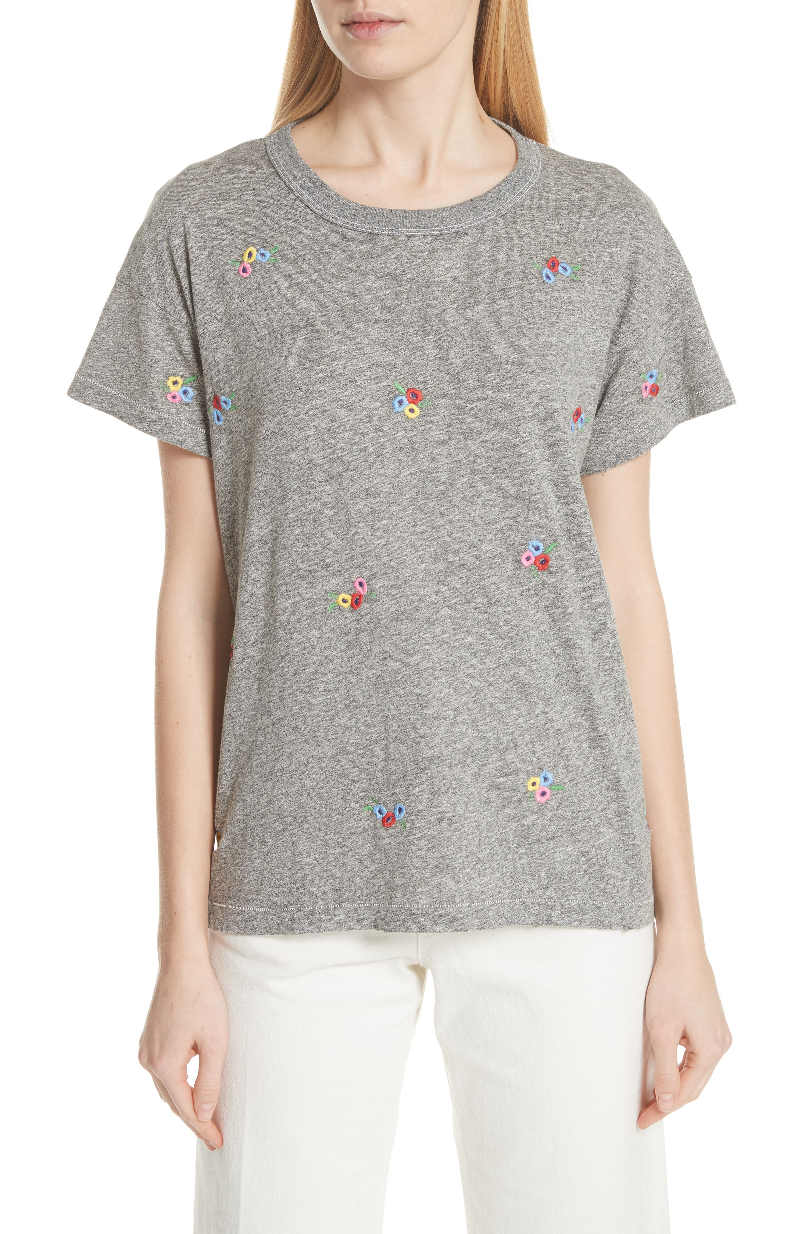 The Boxy Crew Tee,                         Main,                         color, Heather Grey W/ Bouquet Emb