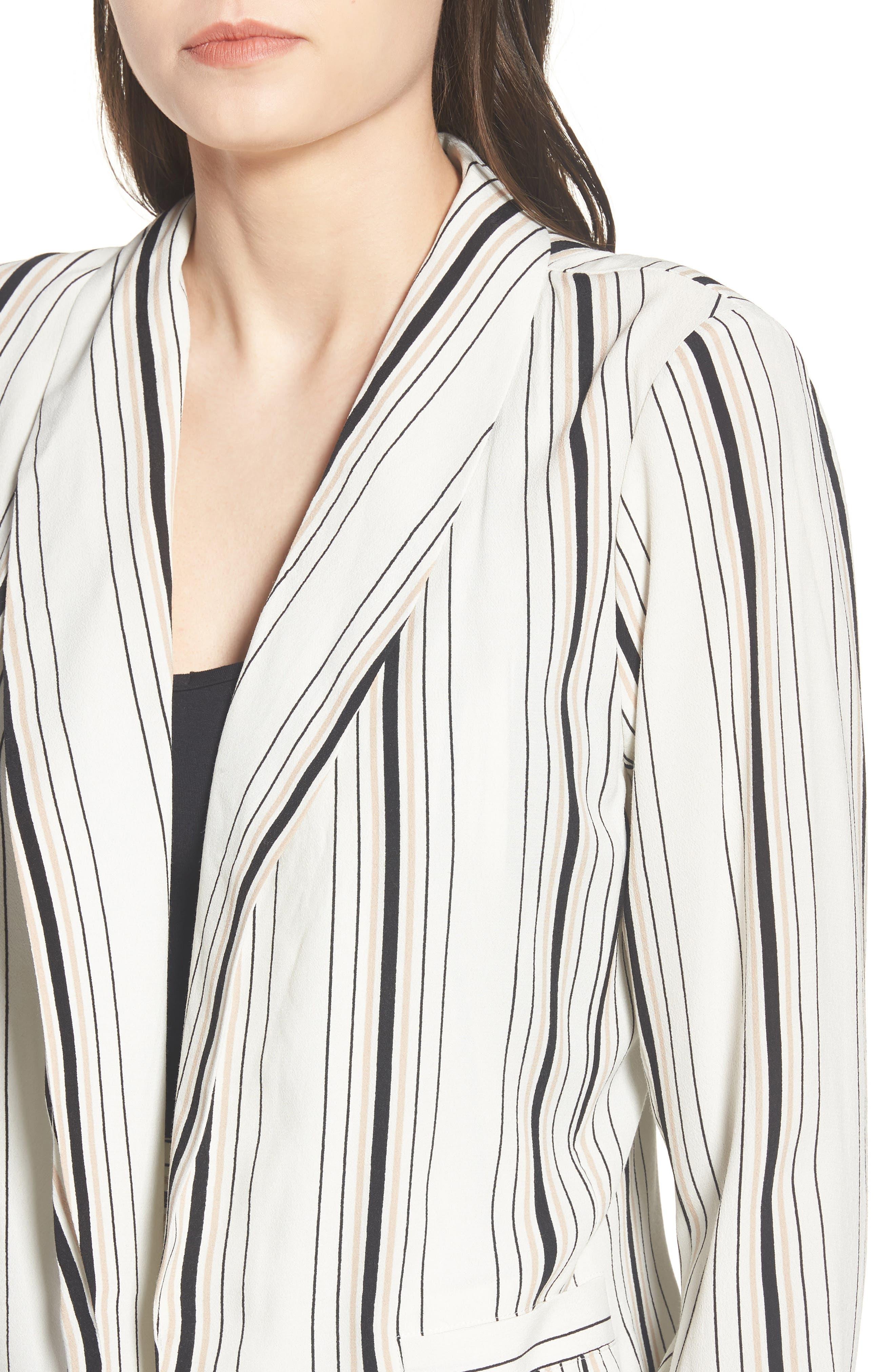 Stripe Blazer,                             Alternate thumbnail 5, color,                             Ivory Stripe