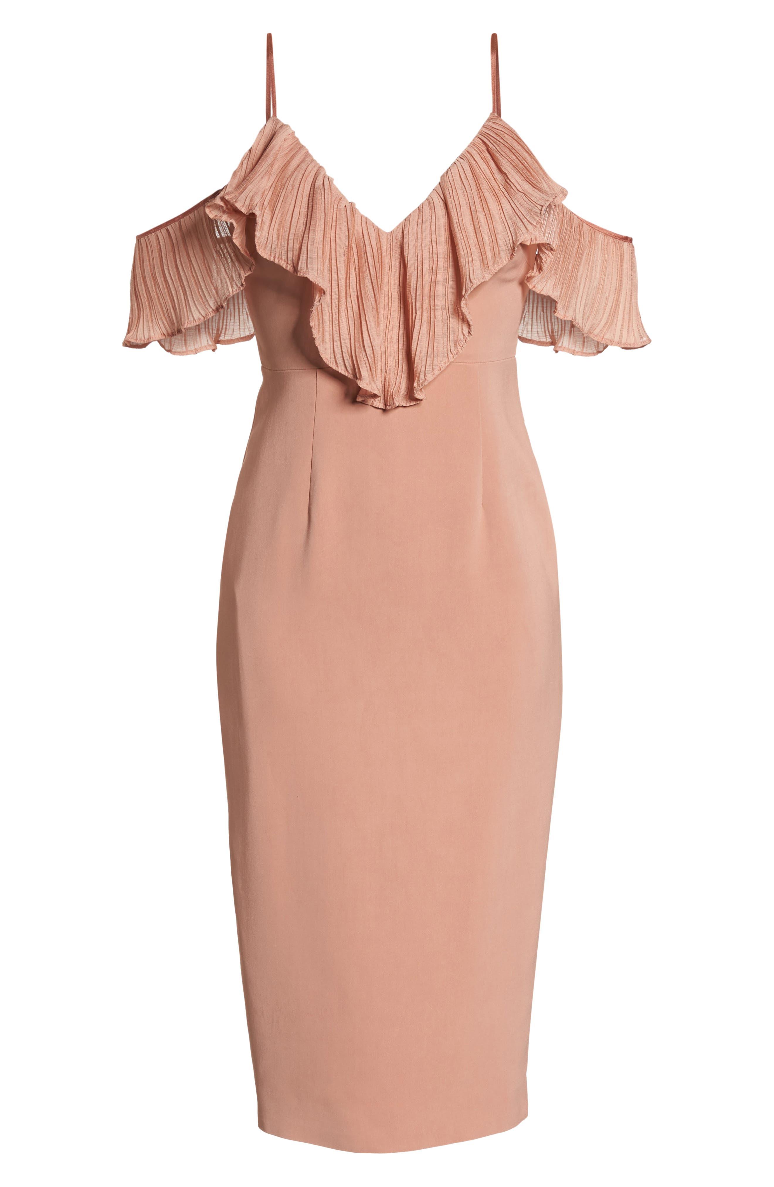 Charm Cold Shoulder Sheath Dress,                             Alternate thumbnail 6, color,                             Misty Rose